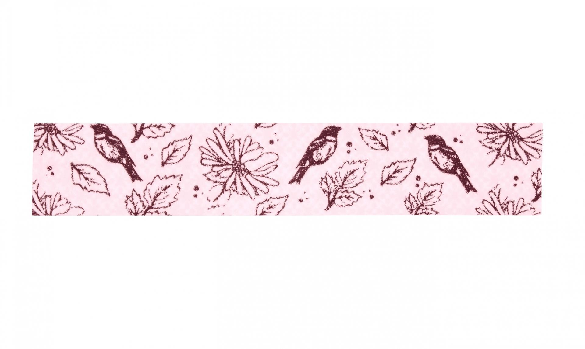 Madam Stoltz Designová samolepicí páska Flowers&Birds Pink, růžová barva, papír