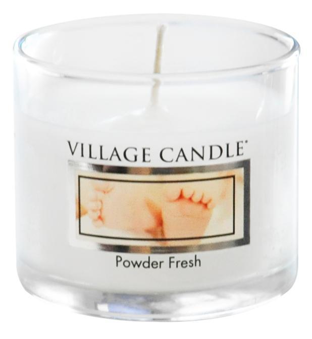 VILLAGE CANDLE Mini svíčka Village Candle - Powder Fresh, bílá barva, sklo