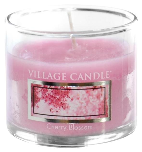 VILLAGE CANDLE Mini svíčka Village Candle - Cherry Blossom, růžová barva, sklo