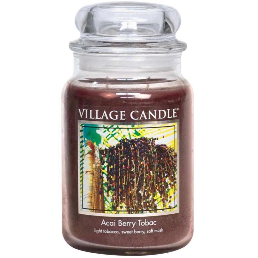 VILLAGE CANDLE Svíčka ve skle Acai Berry Tabac - velká, hnědá barva, sklo