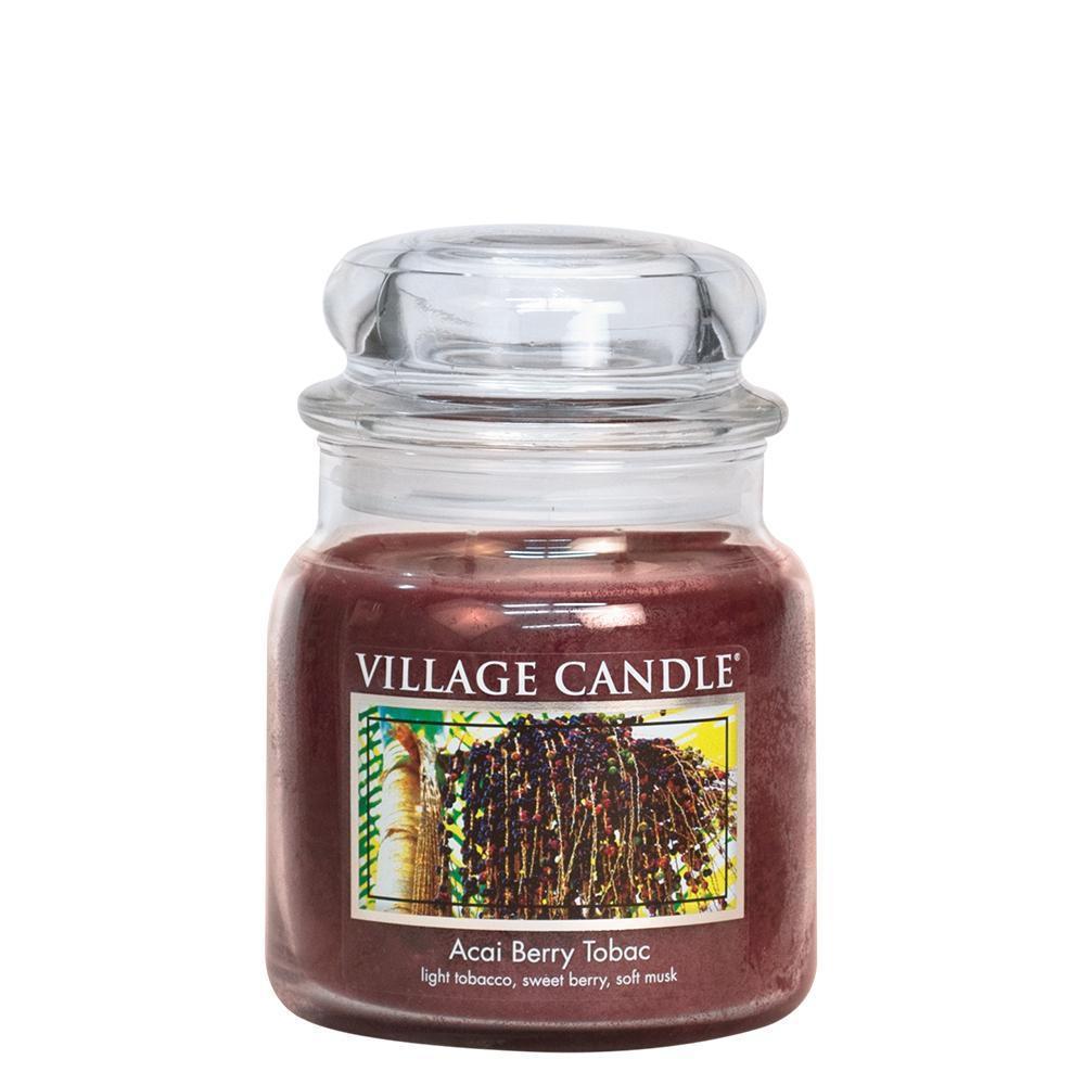 VILLAGE CANDLE Svíčka ve skle Acai Berry Tabac - střední, hnědá barva, sklo