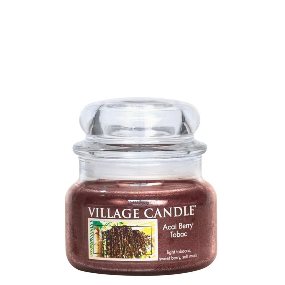 VILLAGE CANDLE Svíčka ve skle Acai Berry Tabac - malá, hnědá barva, sklo