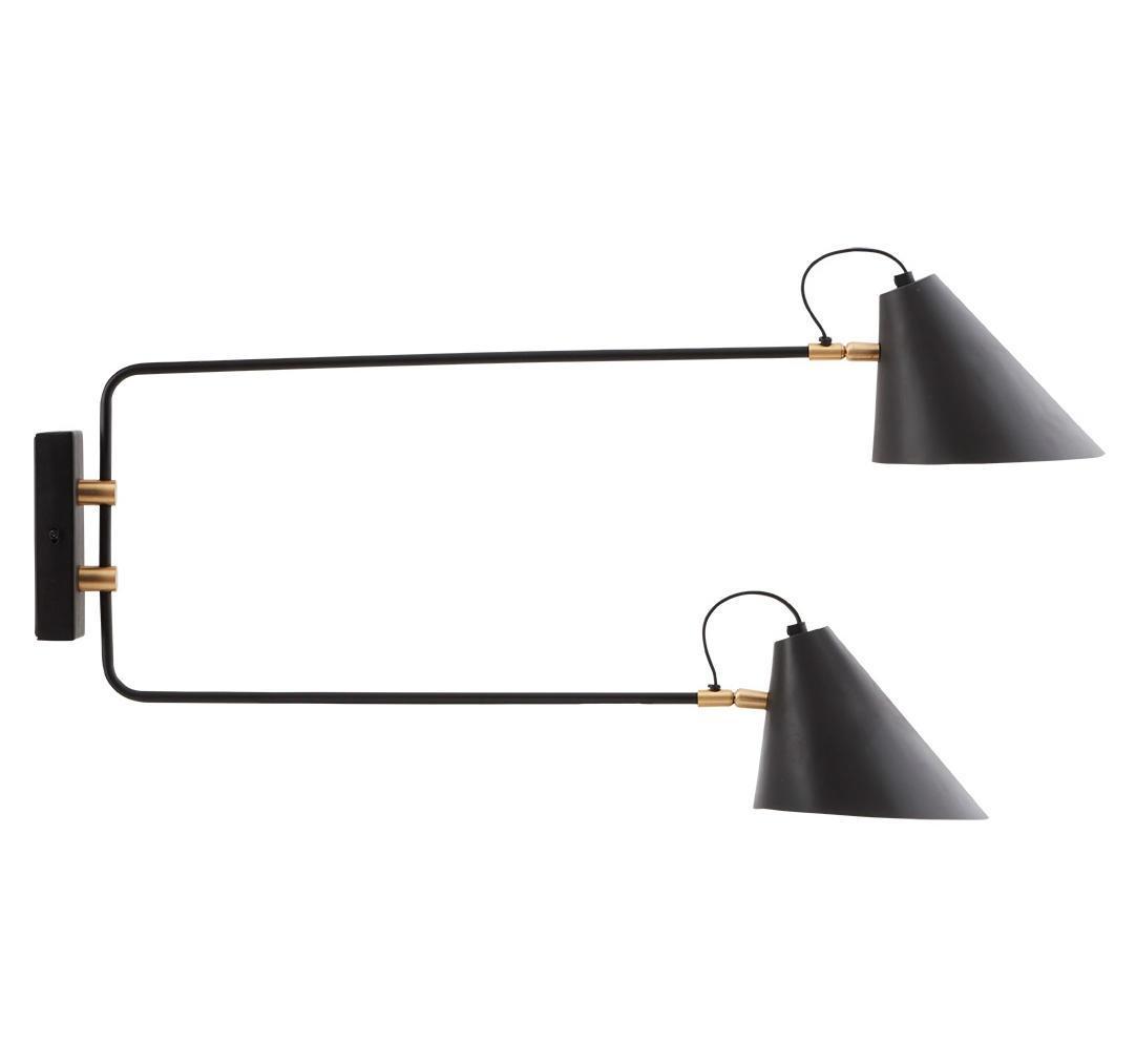 House Doctor Nástěnná lampa Club Double, černá barva, kov