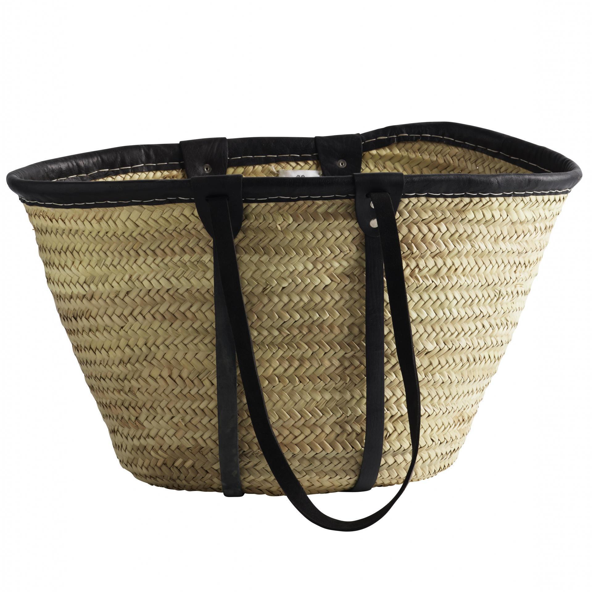 Tine K Home Slaměná taška Tine K Black - dlouhá ucha, černá barva, hnědá barva, proutí, kůže
