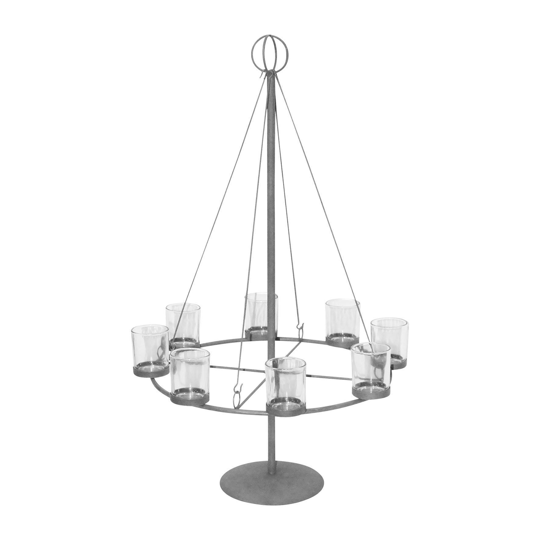 CÔTÉ TABLE Svícen na 8 čajových svíček Grey, šedá barva, kov