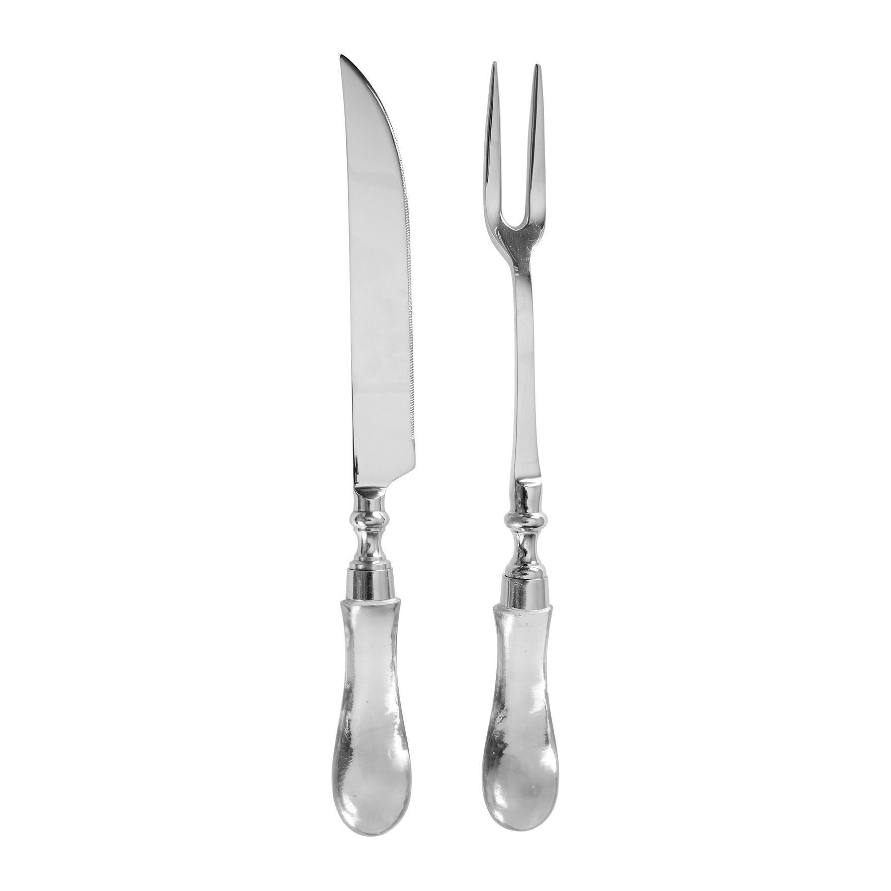 CÔTÉ TABLE Sada na grilování - vidlička a nůž Clear, stříbrná barva, čirá barva, sklo, kov