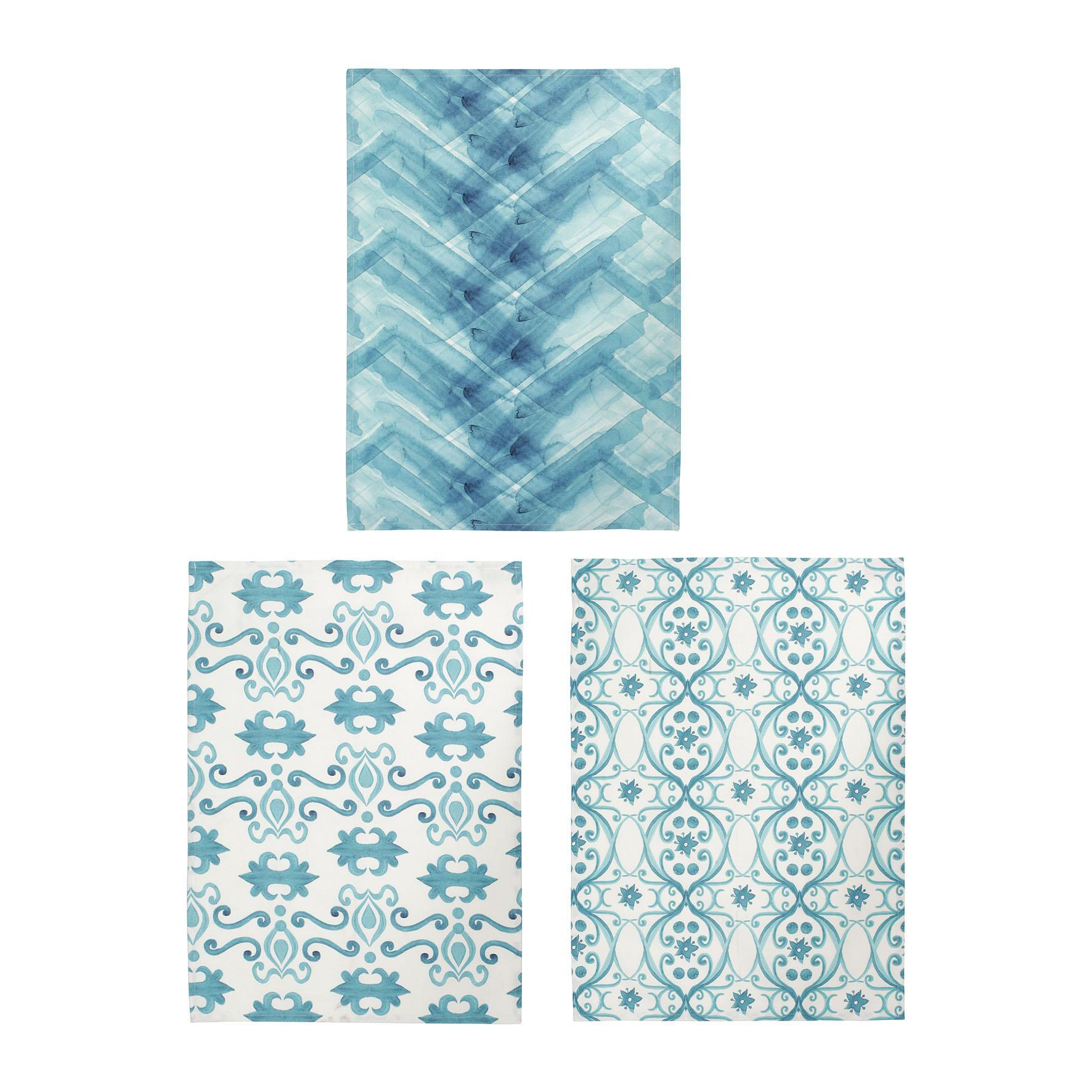 CÔTÉ TABLE Kuchyňská utěrka Blue 50x70 cm Modrá vzor velký, modrá barva, textil