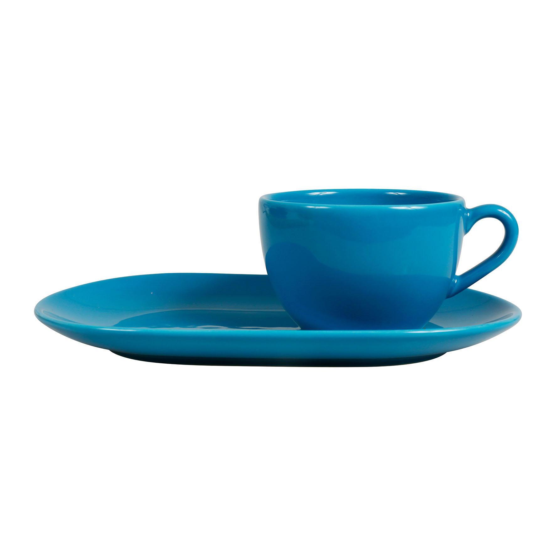 CÔTÉ TABLE Velký šálek s podlouhlým podšálkem Genevieve Lethu, modrá barva, keramika