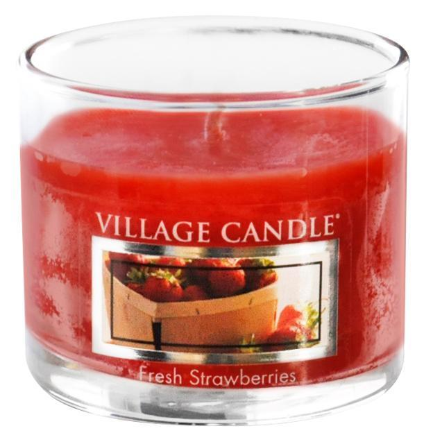 VILLAGE CANDLE Mini svíčka Village Candle - Fresh Strawberries, červená barva, vosk