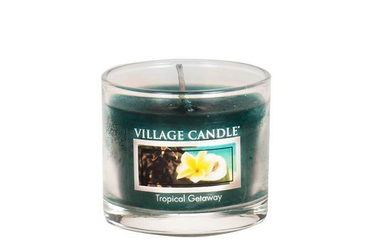 VILLAGE CANDLE Mini svíčka Village Candle - Tropical Getaway, modrá barva, vosk