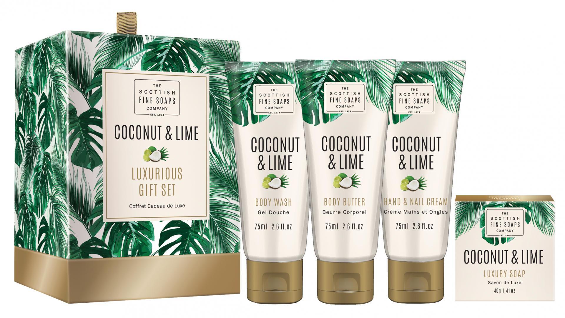 SCOTTISH FINE SOAPS Dárkový set kosmetiky Coconut & Lime, zelená barva