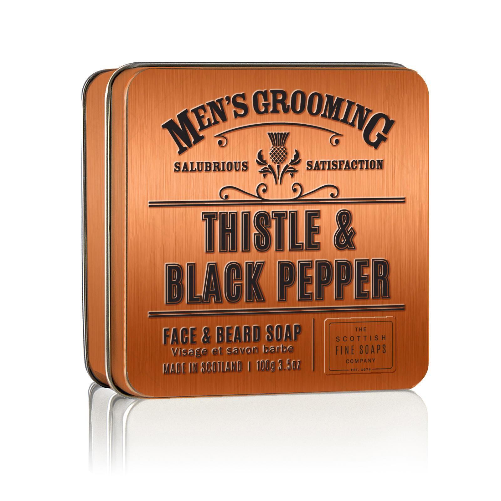 SCOTTISH FINE SOAPS Mýdlo v plechové krabičce Thistle & Black pepper, oranžová barva, kov