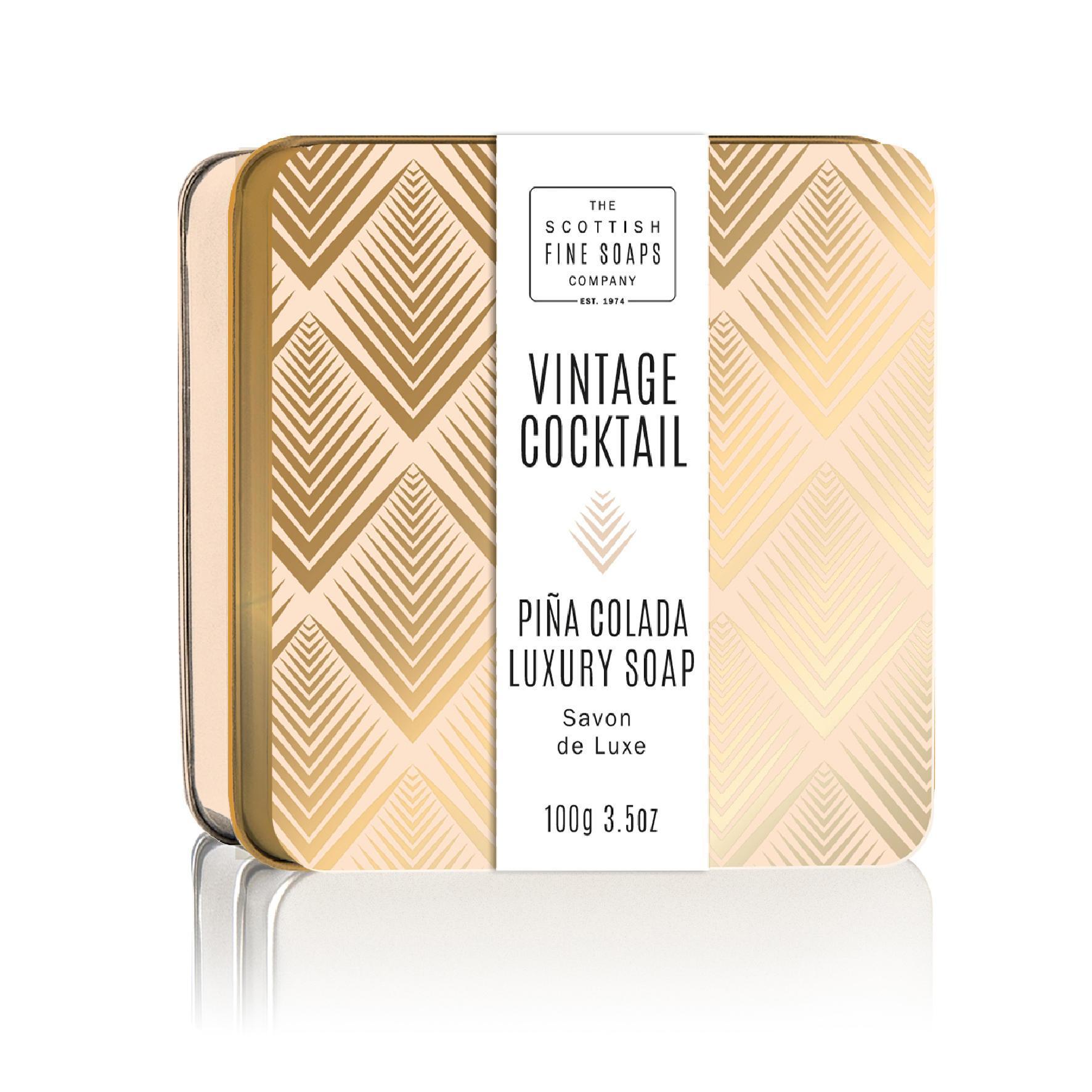 SCOTTISH FINE SOAPS Mýdlo v plechové krabičce Piña Colada Cocktail, béžová barva, zlatá barva, kov