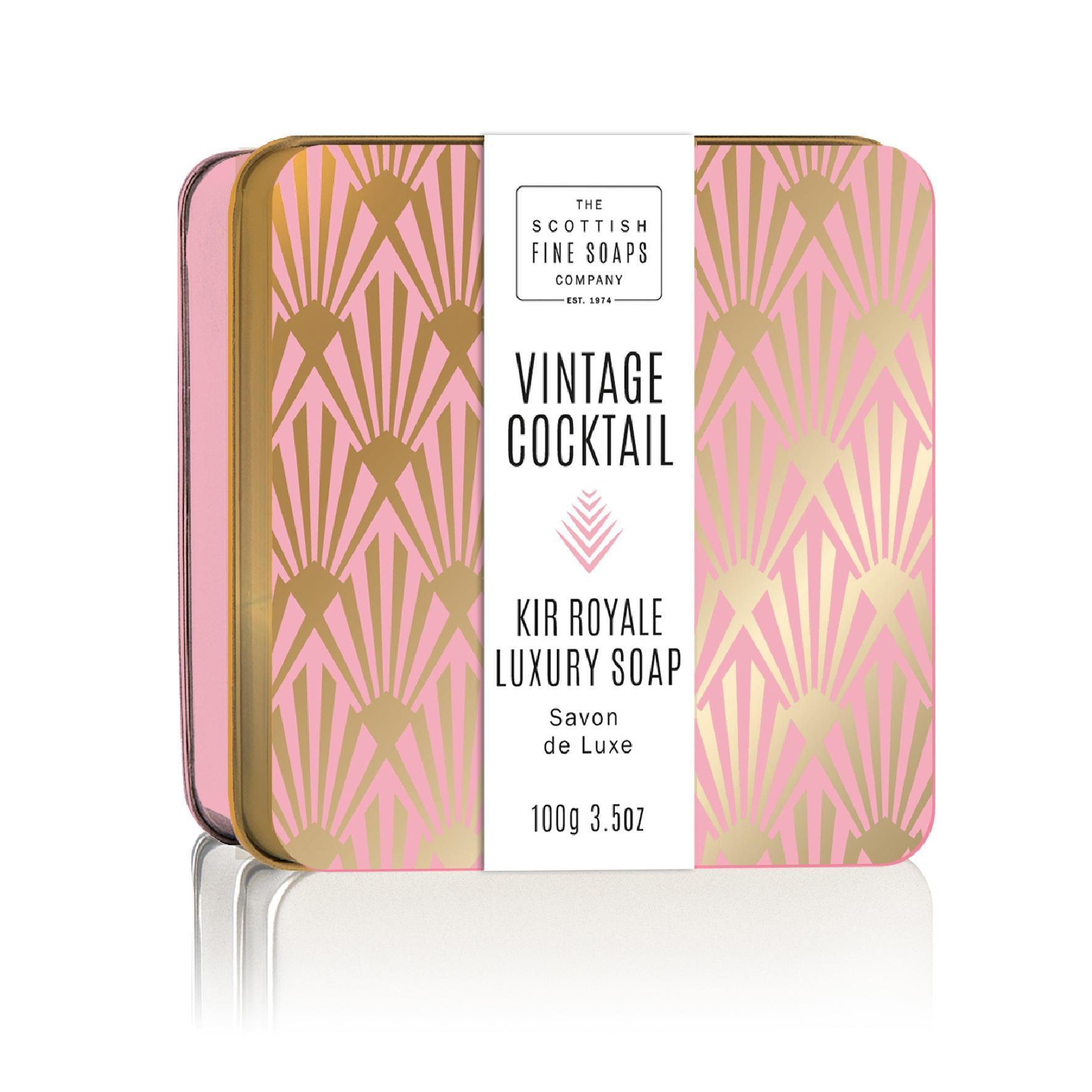 SCOTTISH FINE SOAPS Mýdlo v plechové krabičce Kir Royale Cocktail, fialová barva, zlatá barva, kov