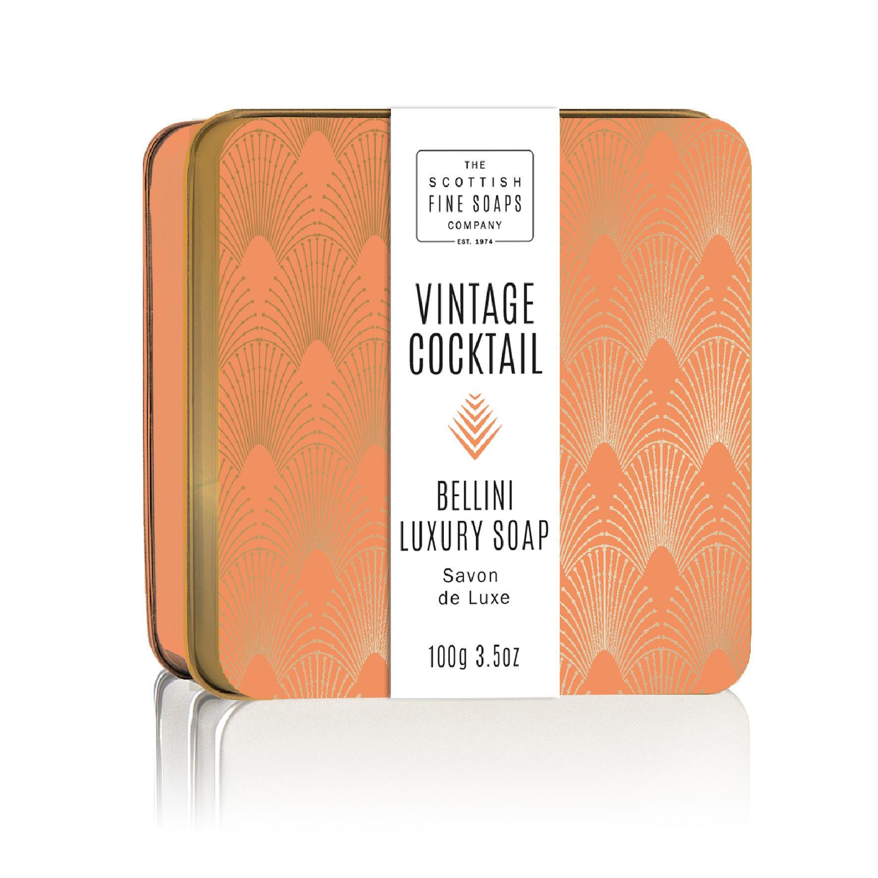 SCOTTISH FINE SOAPS Mýdlo v plechové krabičce Bellini Cocktail, oranžová barva, měděná barva, kov