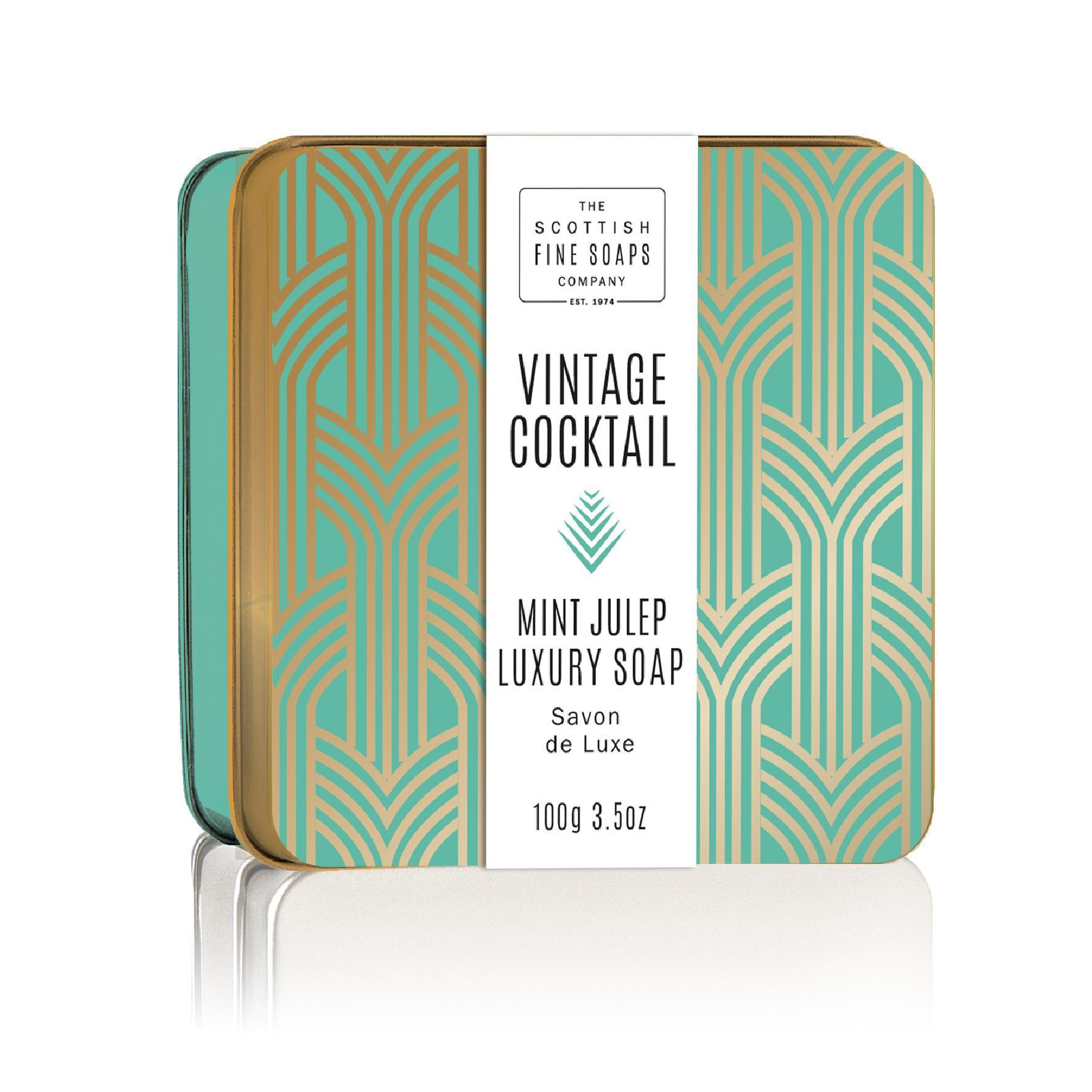 SCOTTISH FINE SOAPS Mýdlo v plechové krabičce Mint Julep Cocktail, zelená barva, zlatá barva, kov