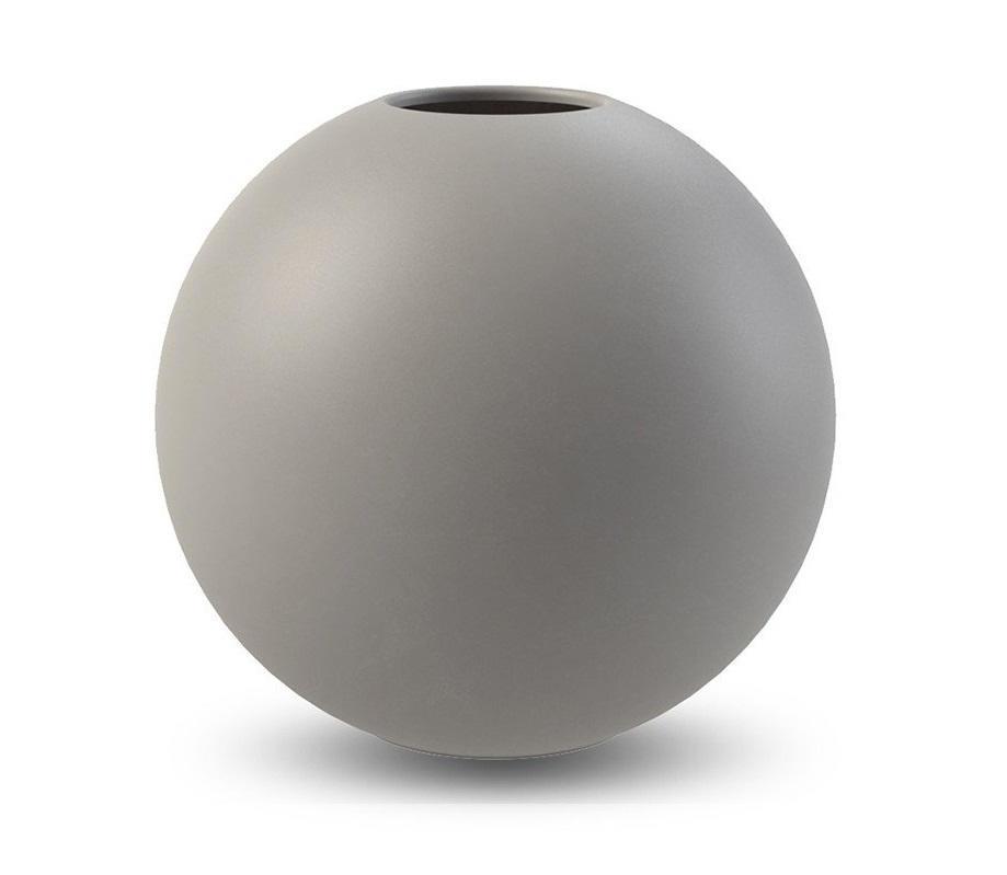 COOEE Design Kulatá váza Ball Grey 30 cm, šedá barva, keramika