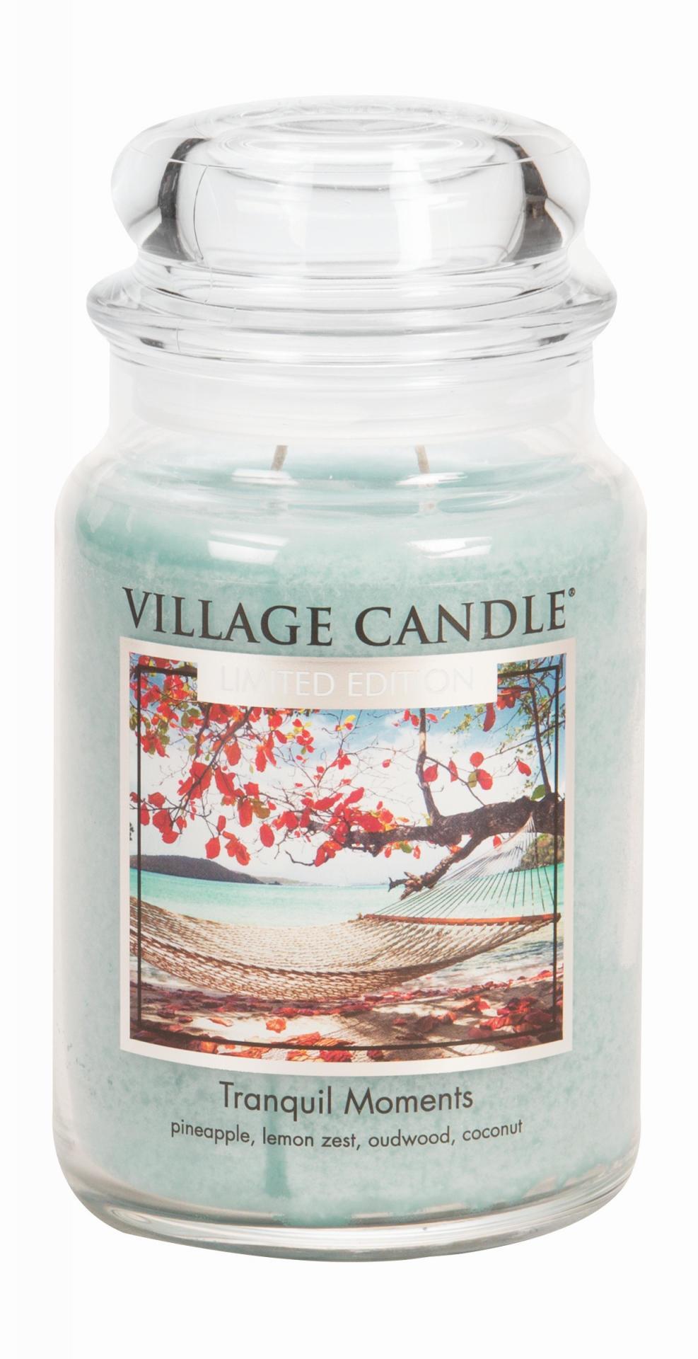 VILLAGE CANDLE Svíčka ve skle Tranquil Moments - velká, modrá barva, sklo