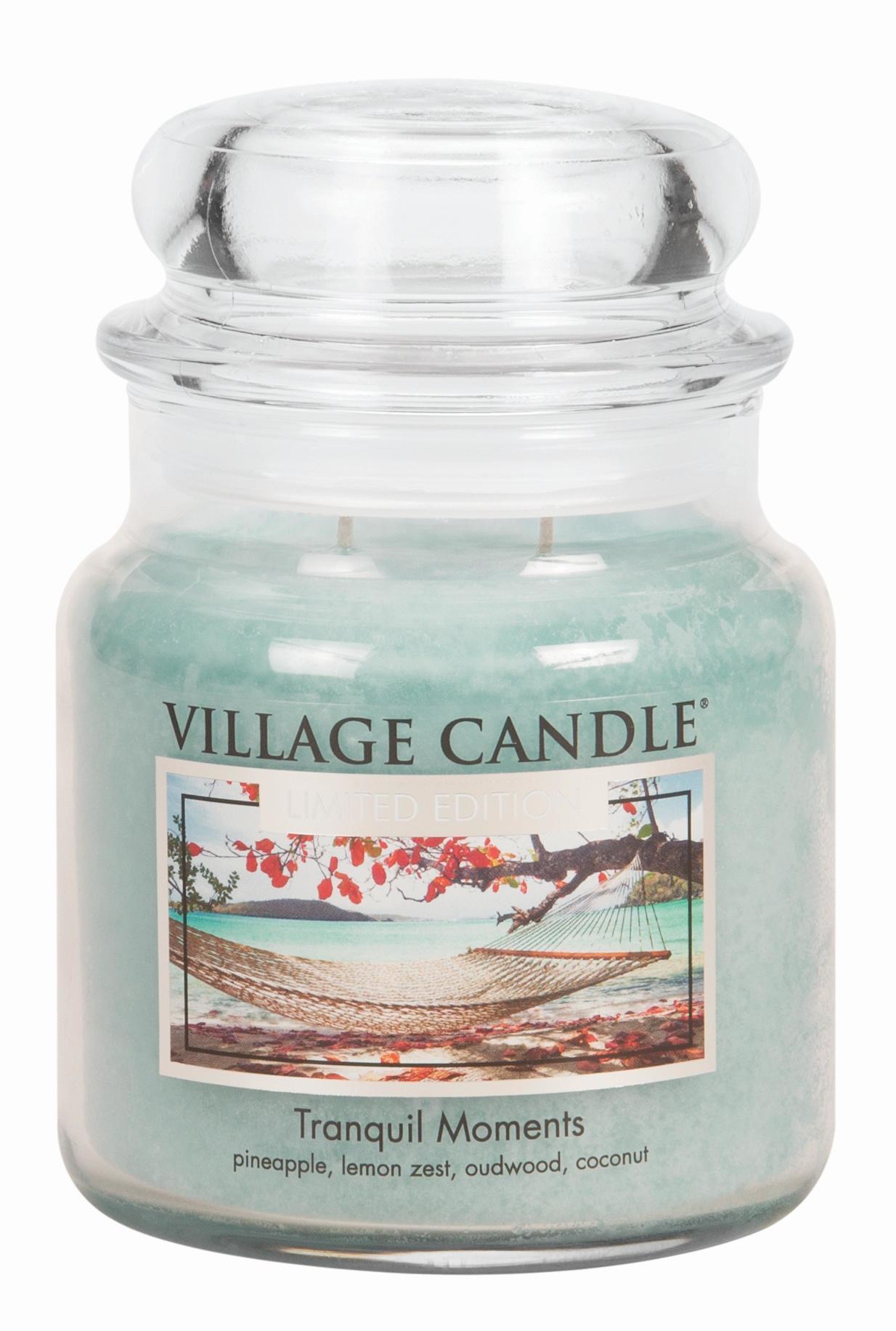 VILLAGE CANDLE Svíčka ve skle Tranquil Moments - střední, modrá barva, sklo