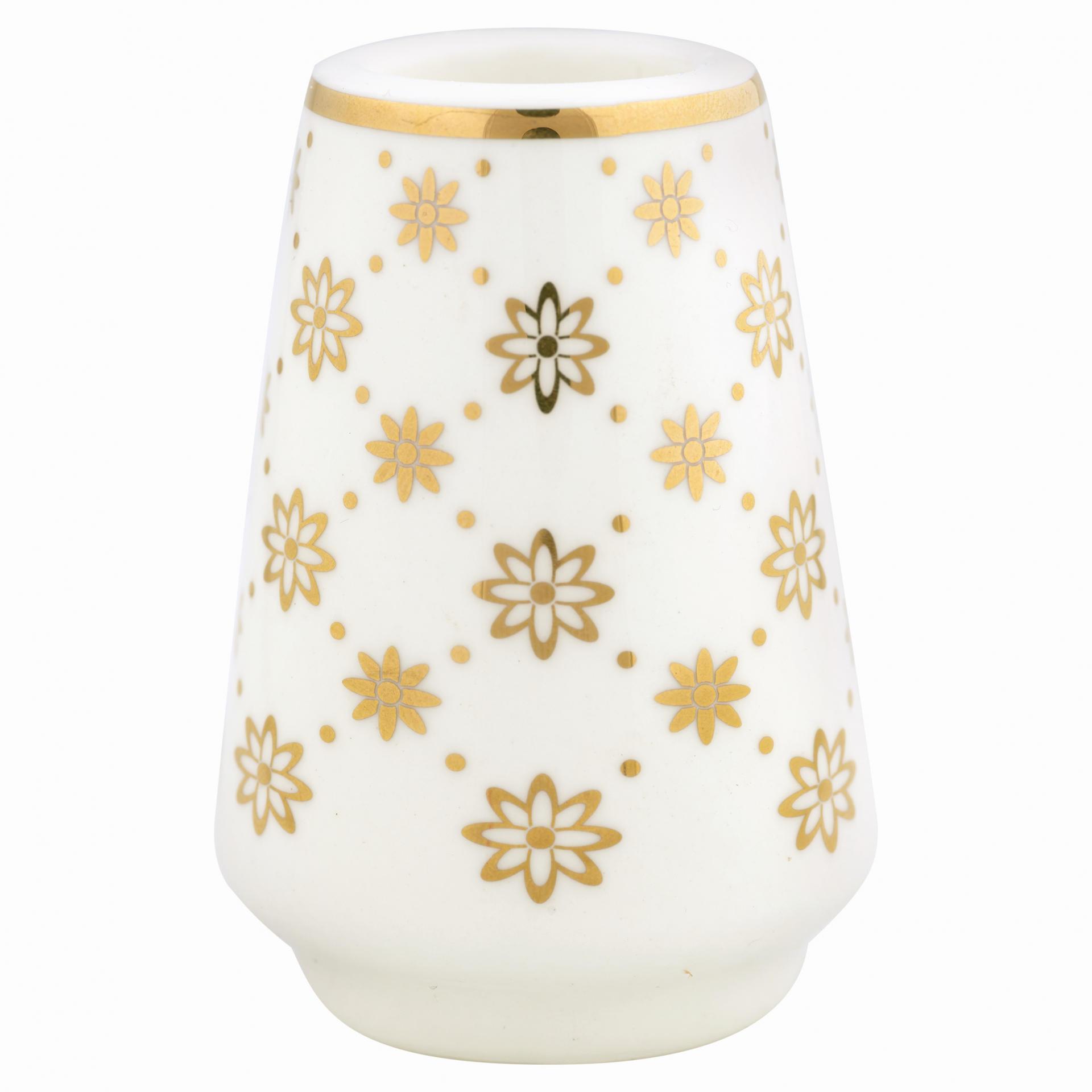 GREEN GATE Keramický svícínek Laurie gold, bílá barva, zlatá barva, keramika