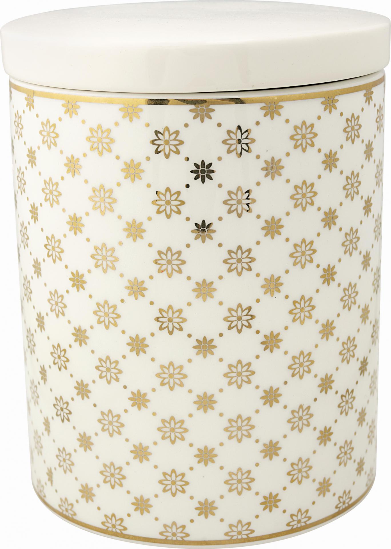 GREEN GATE Keramická dóza Laurie Gold, bílá barva, zlatá barva, keramika