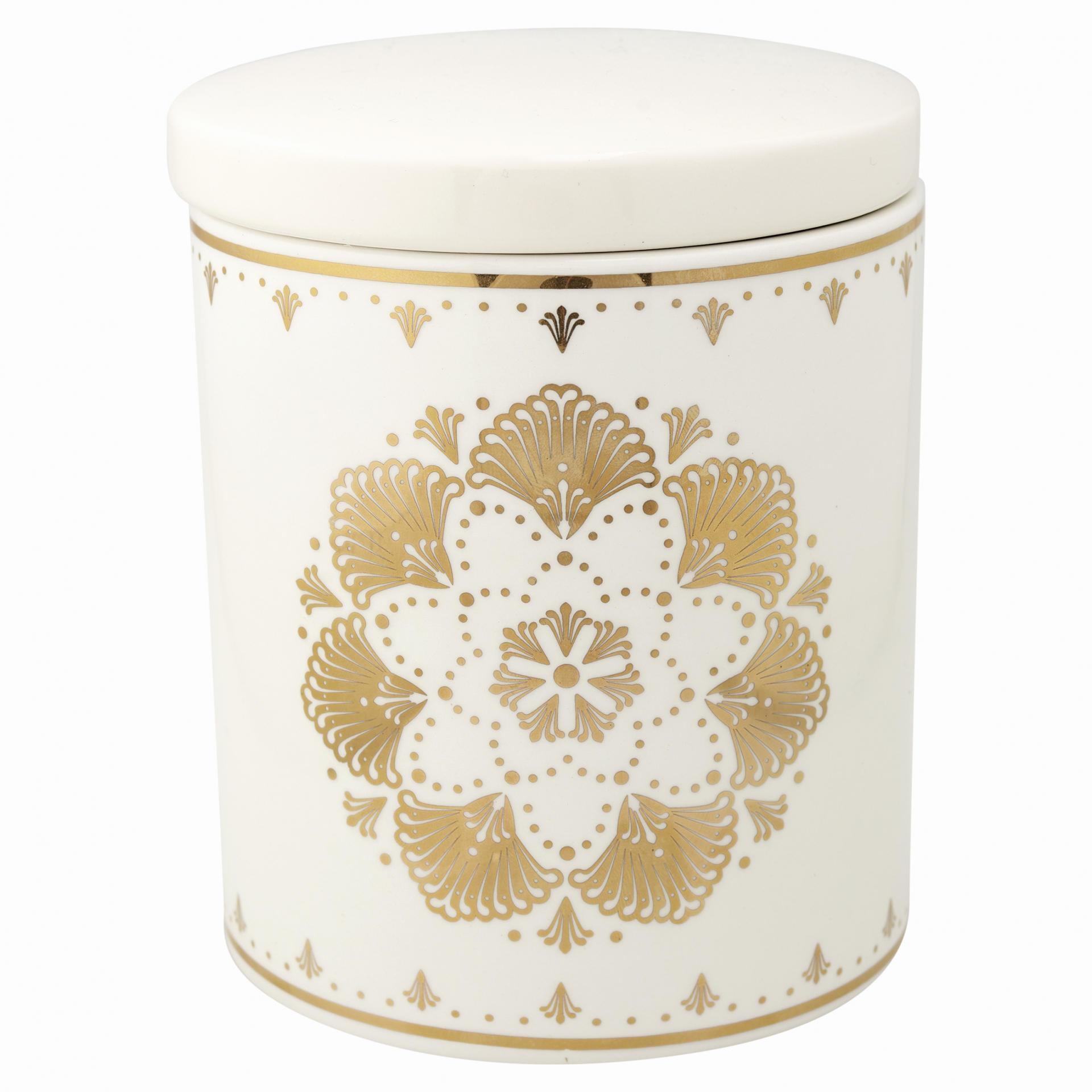 GREEN GATE Keramická dóza Elvina Gold, žlutá barva, bílá barva, keramika