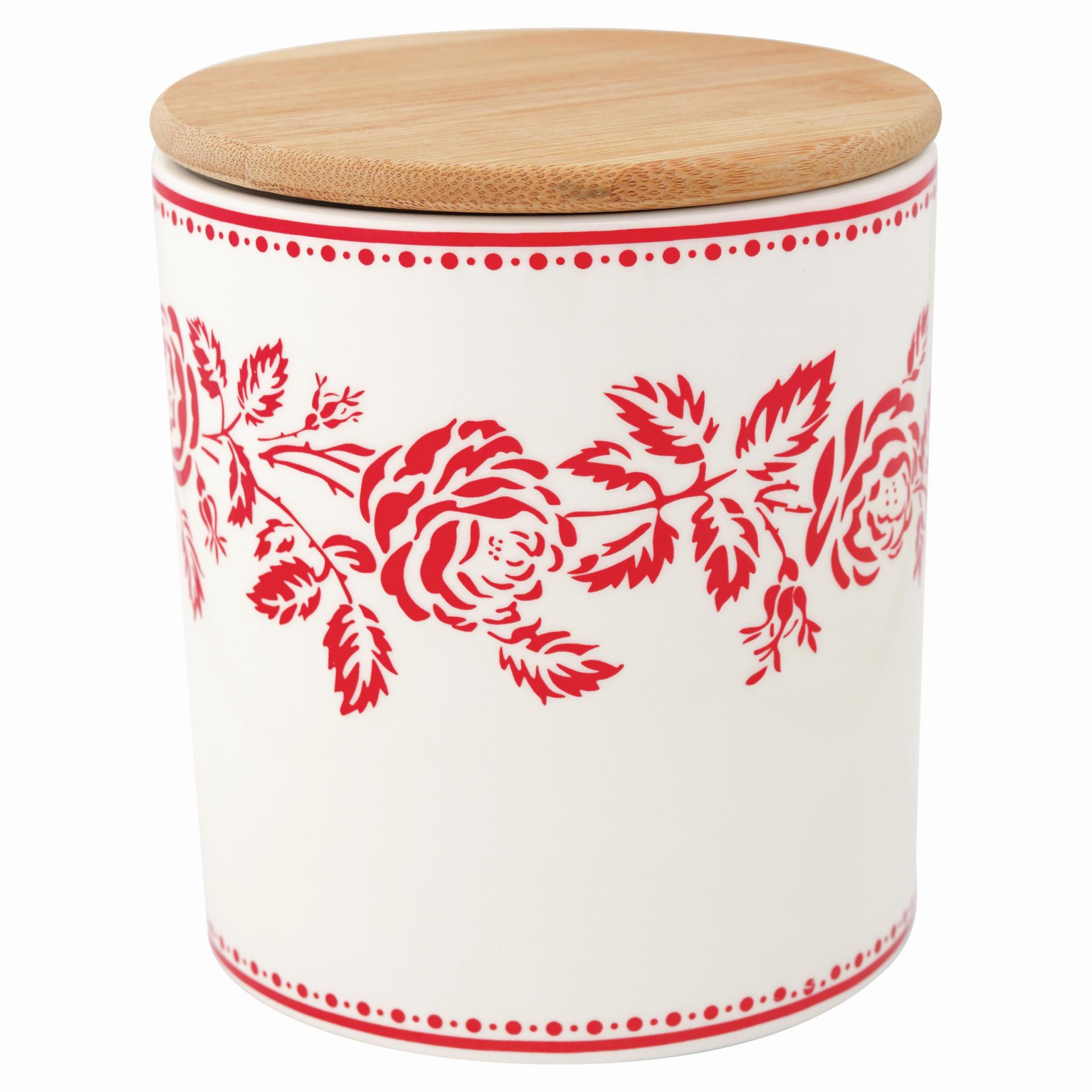 GREEN GATE Keramická dóza s dřevěným víkem Fleur red, červená barva, bílá barva, keramika