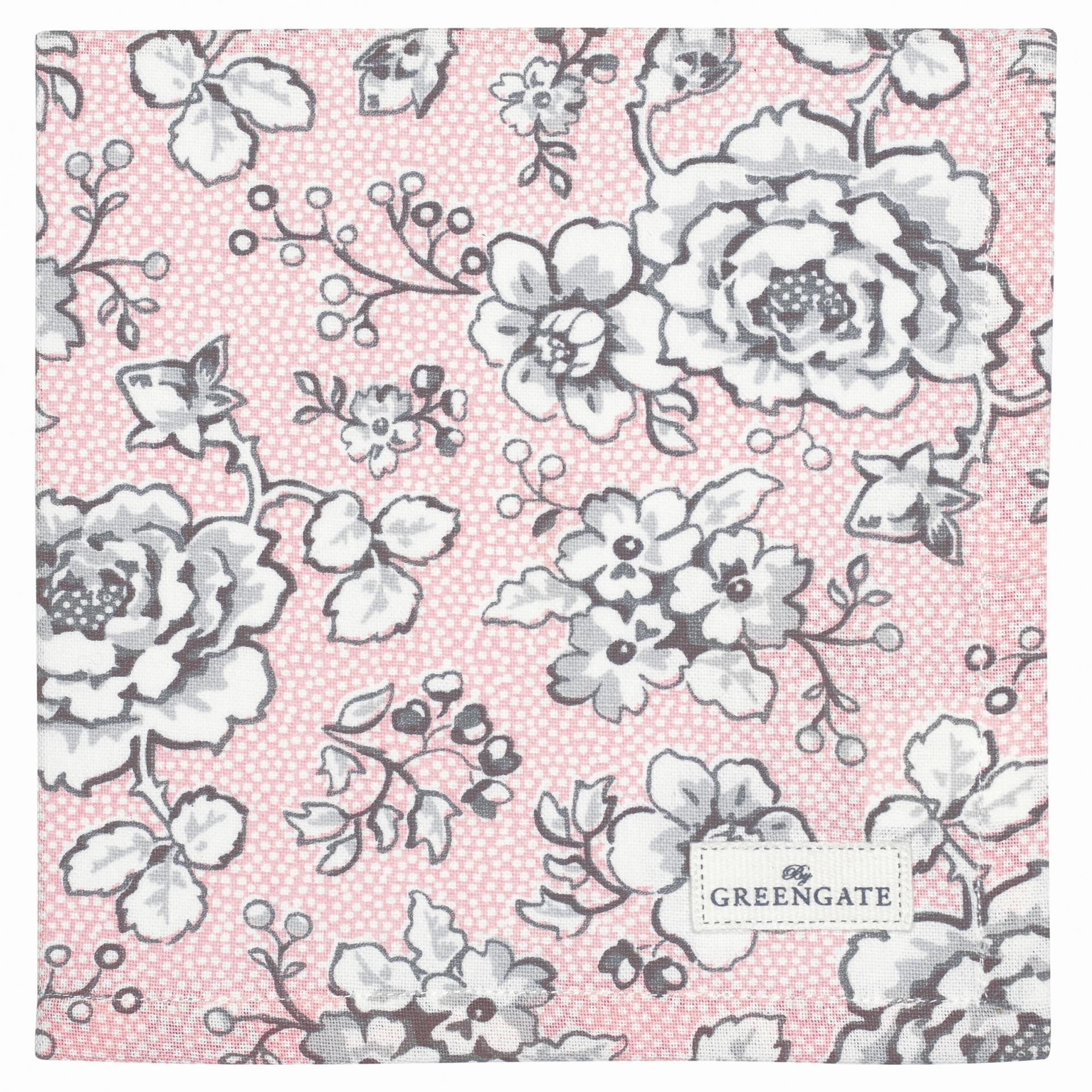 GREEN GATE Látkový ubrousek Ella pale pink, růžová barva, šedá barva, bílá barva, textil