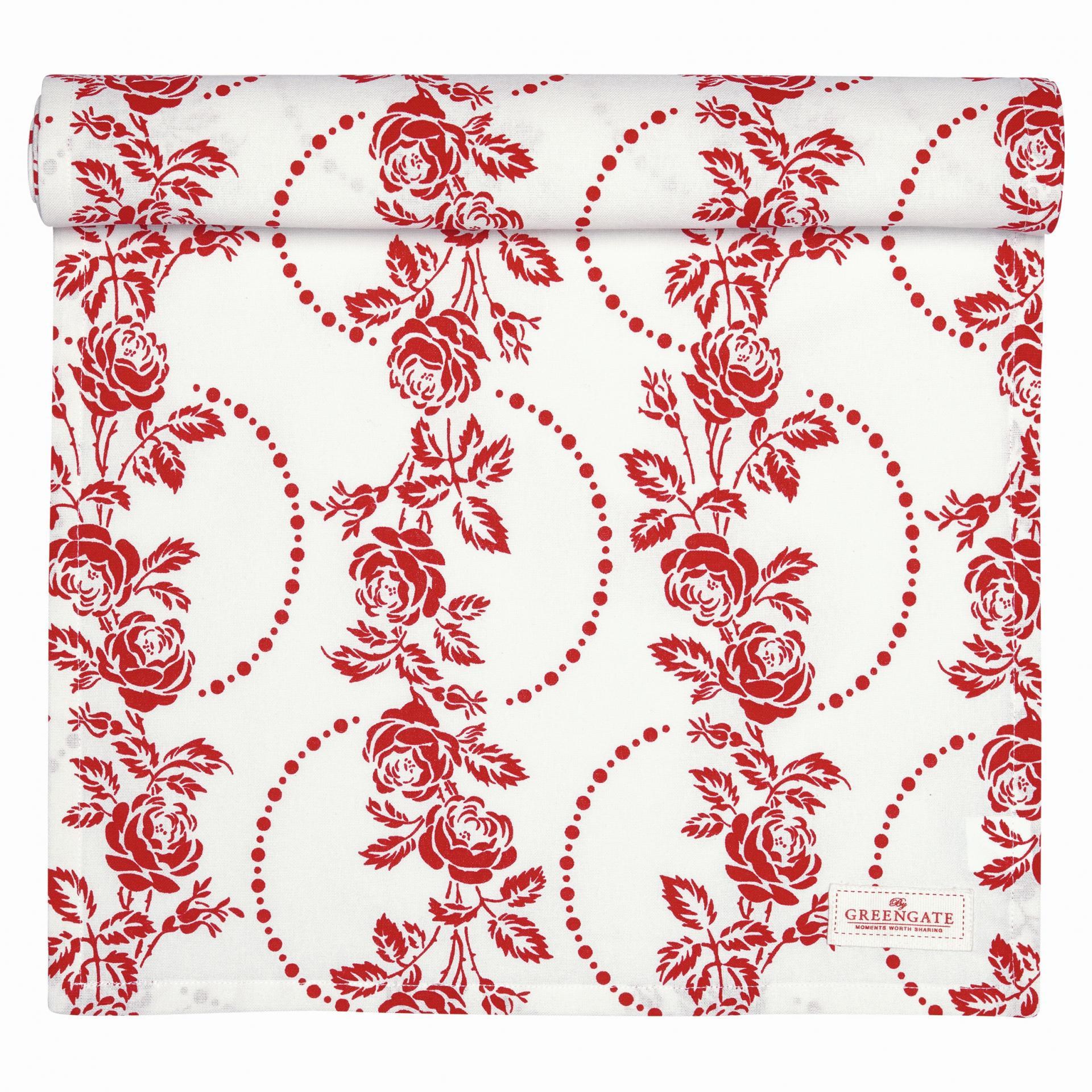 GREEN GATE Bavlněný běhoun Fleur red 45x140 cm, červená barva, bílá barva, textil