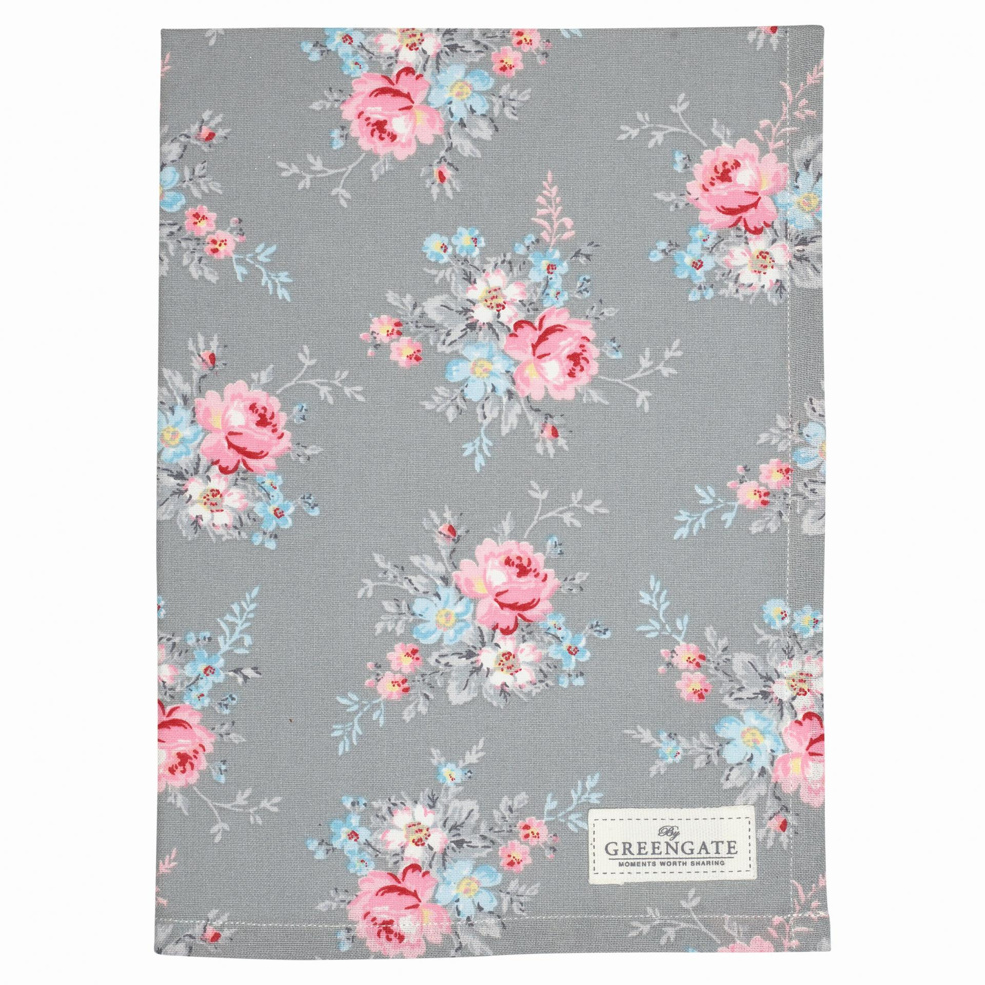 GREEN GATE Bavlněná utěrka Marie pale grey, růžová barva, šedá barva, bílá barva, textil