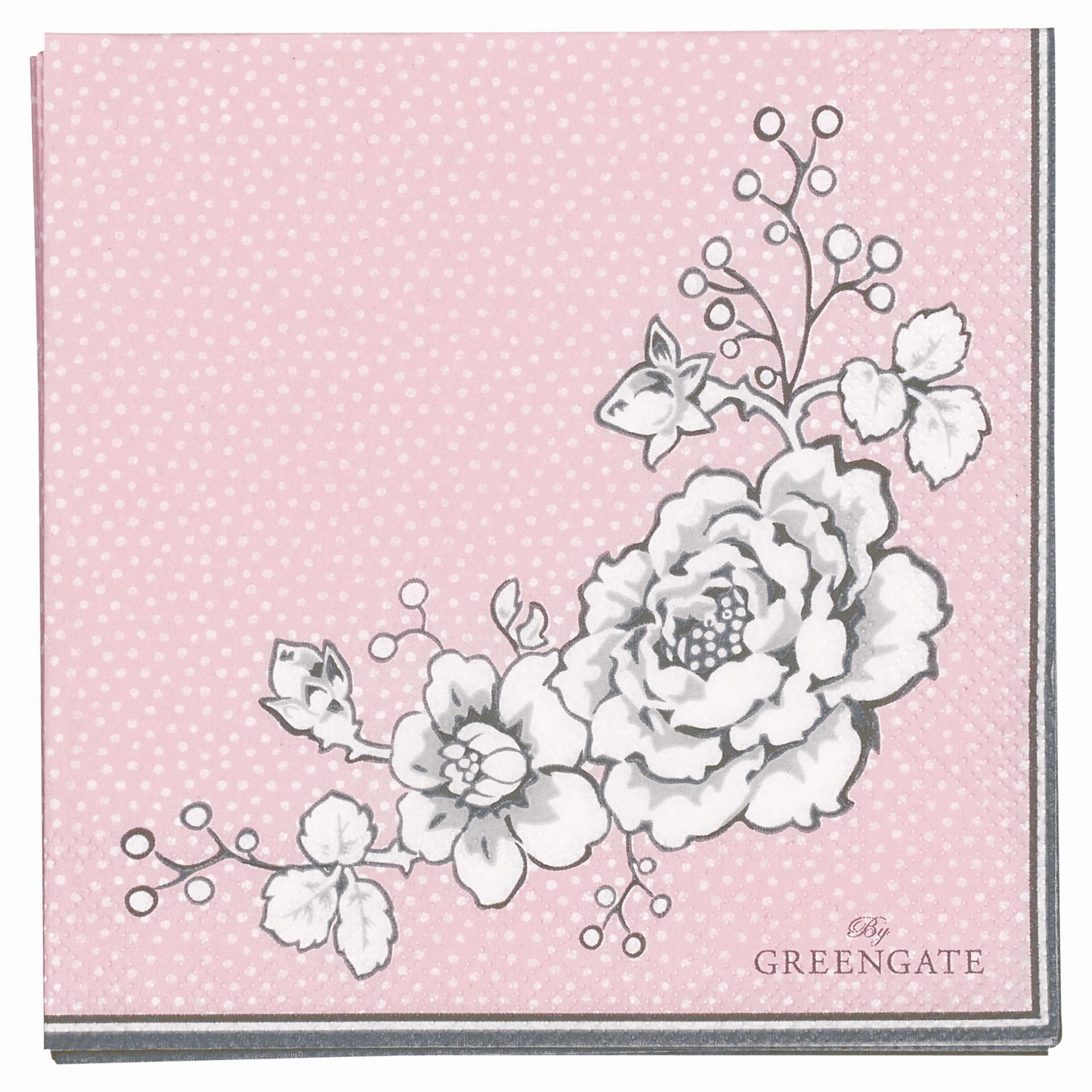 GREEN GATE Papírové ubrousky Ella pale pink, růžová barva, papír