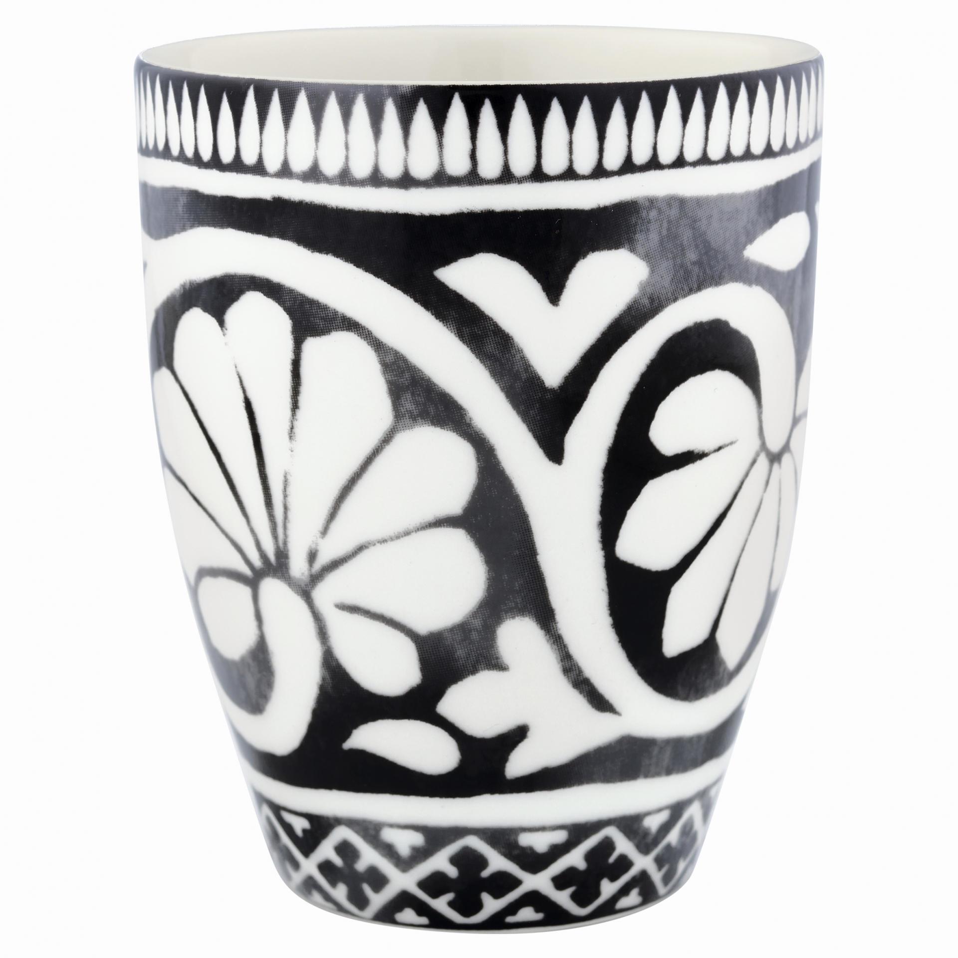 GREEN GATE Latte cup Sasha black 350 ml, černá barva, bílá barva, porcelán 350 ml