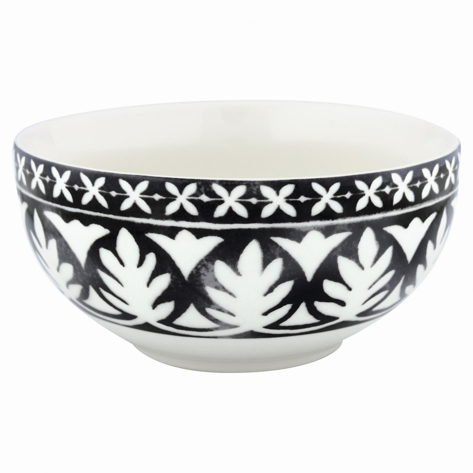 GREEN GATE Porcelánová miska Sasha black, černá barva, bílá barva, porcelán