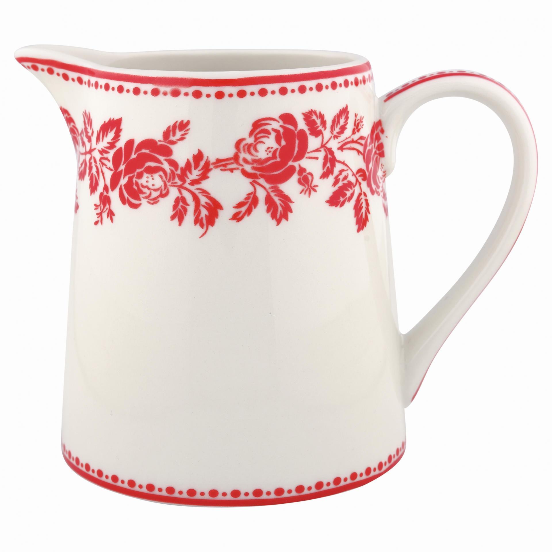 GREEN GATE Džbánek Fleur red 500 ml, červená barva, bílá barva, porcelán