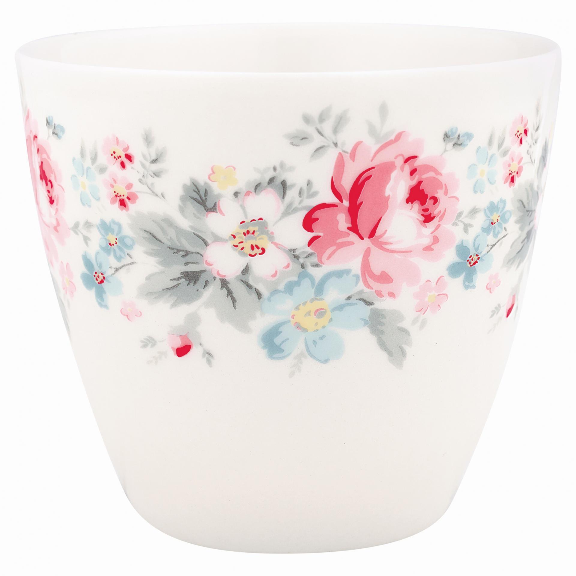 GREEN GATE Latte cup Marie pale grey, růžová barva, šedá barva, bílá barva, porcelán 300 ml
