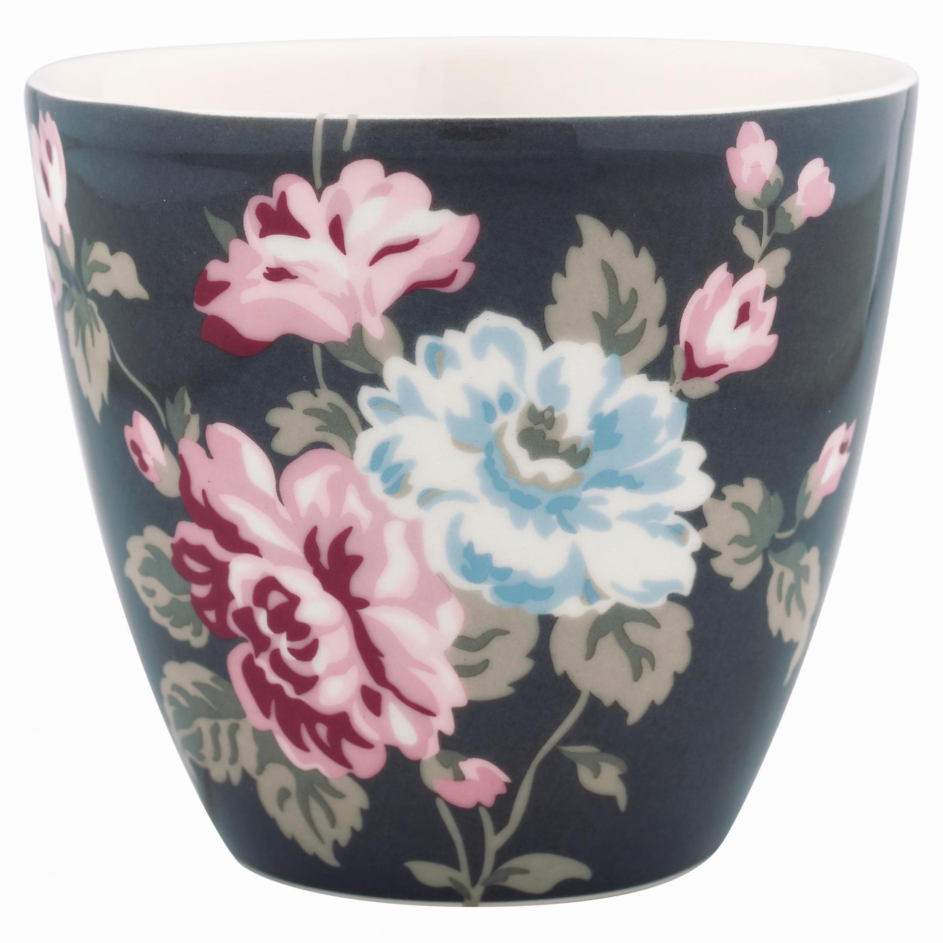 GREEN GATE Latte cup Maude dark grey, růžová barva, šedá barva, porcelán 300 ml