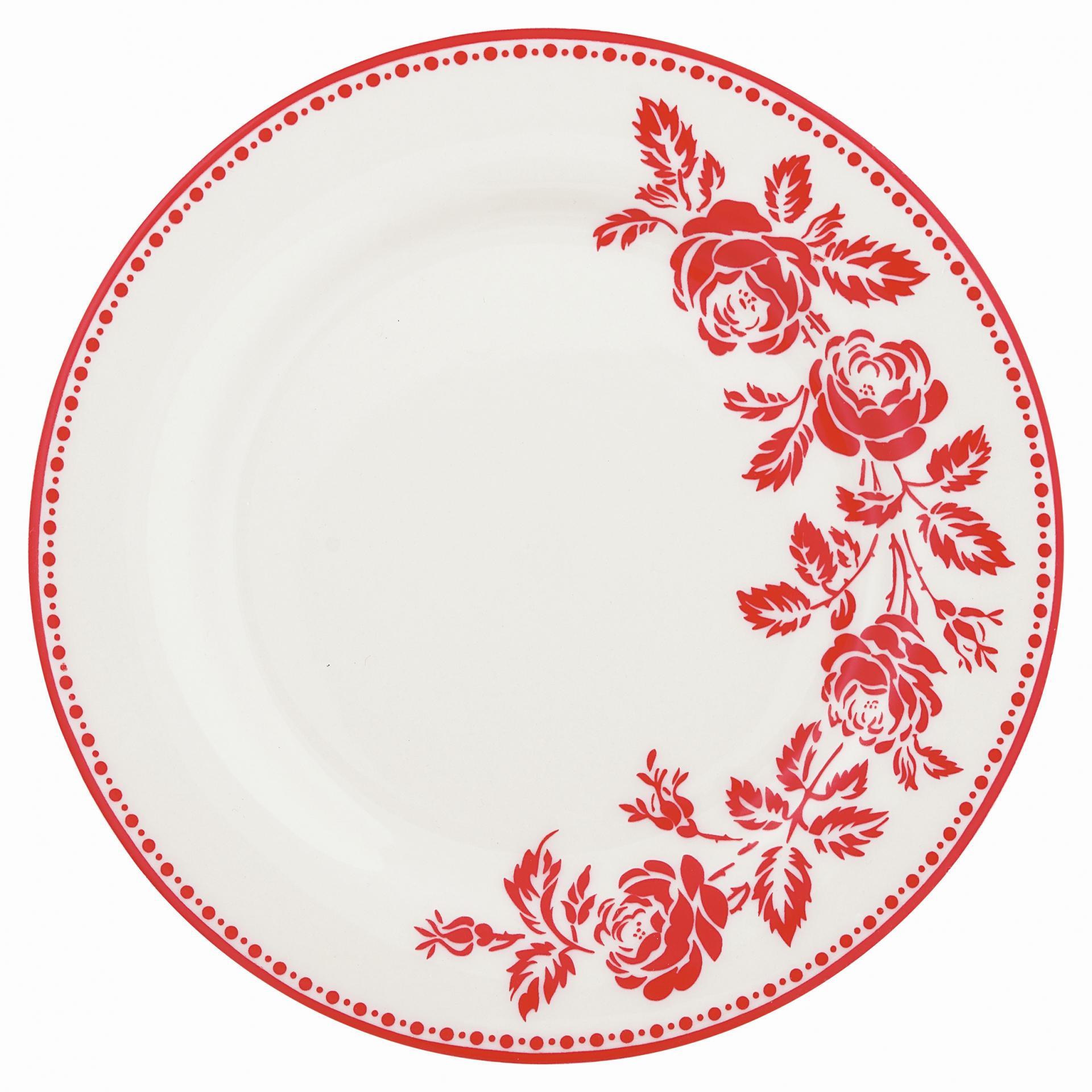 GREEN GATE Dezertní talíř Fleur red, červená barva, bílá barva, porcelán