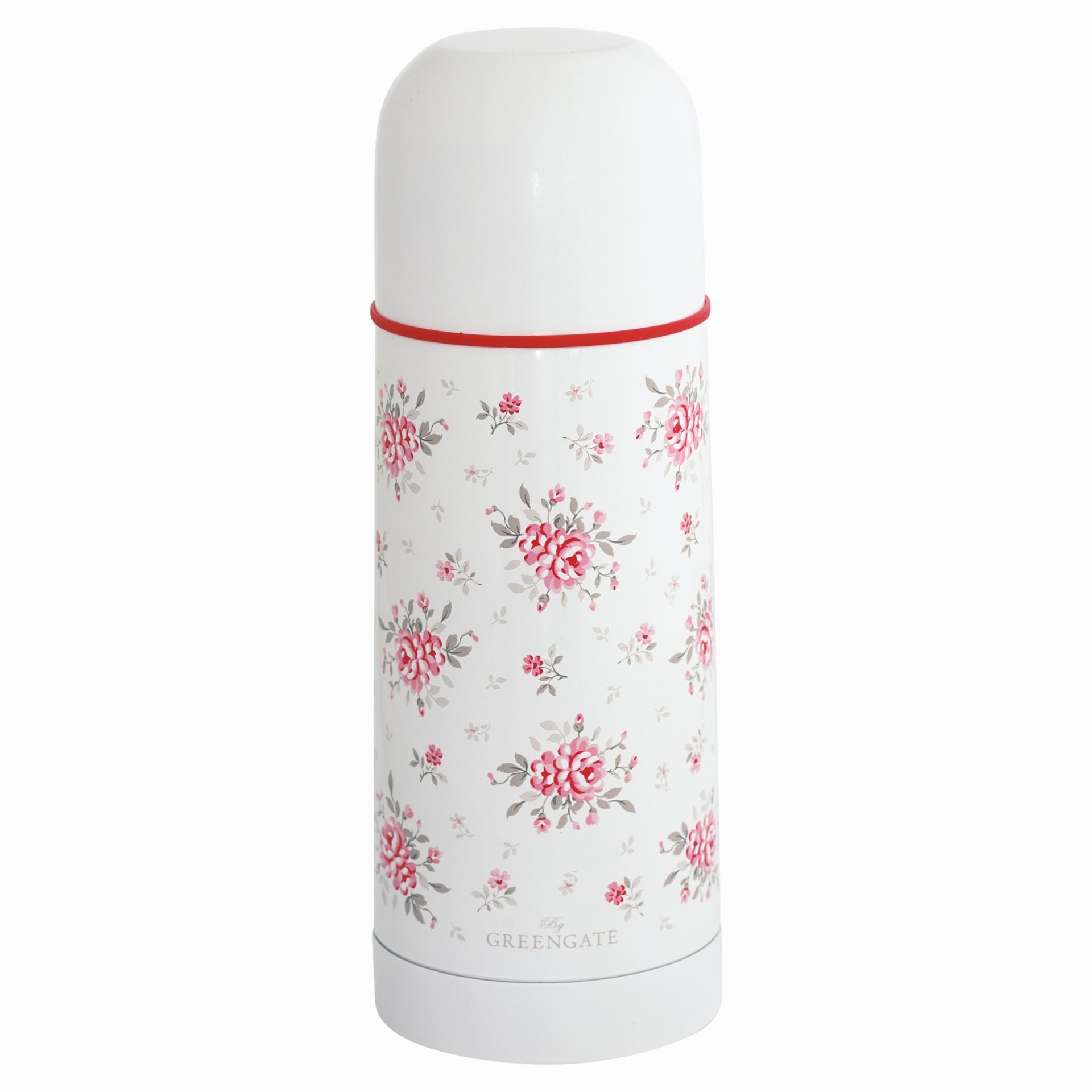 GREEN GATE Termoska Flora white 300 ml, růžová barva, bílá barva, kov