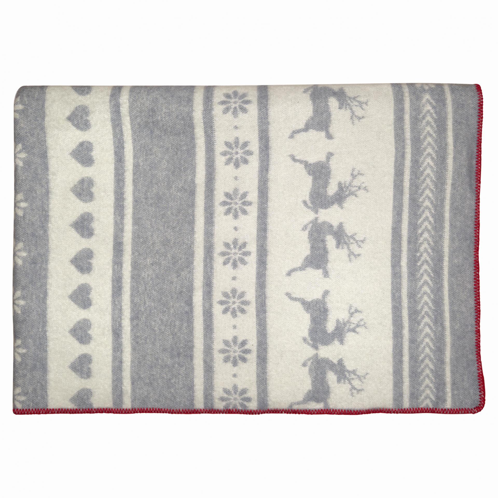GREEN GATE Vlněná deka Ivy White 130x180, šedá barva, textil