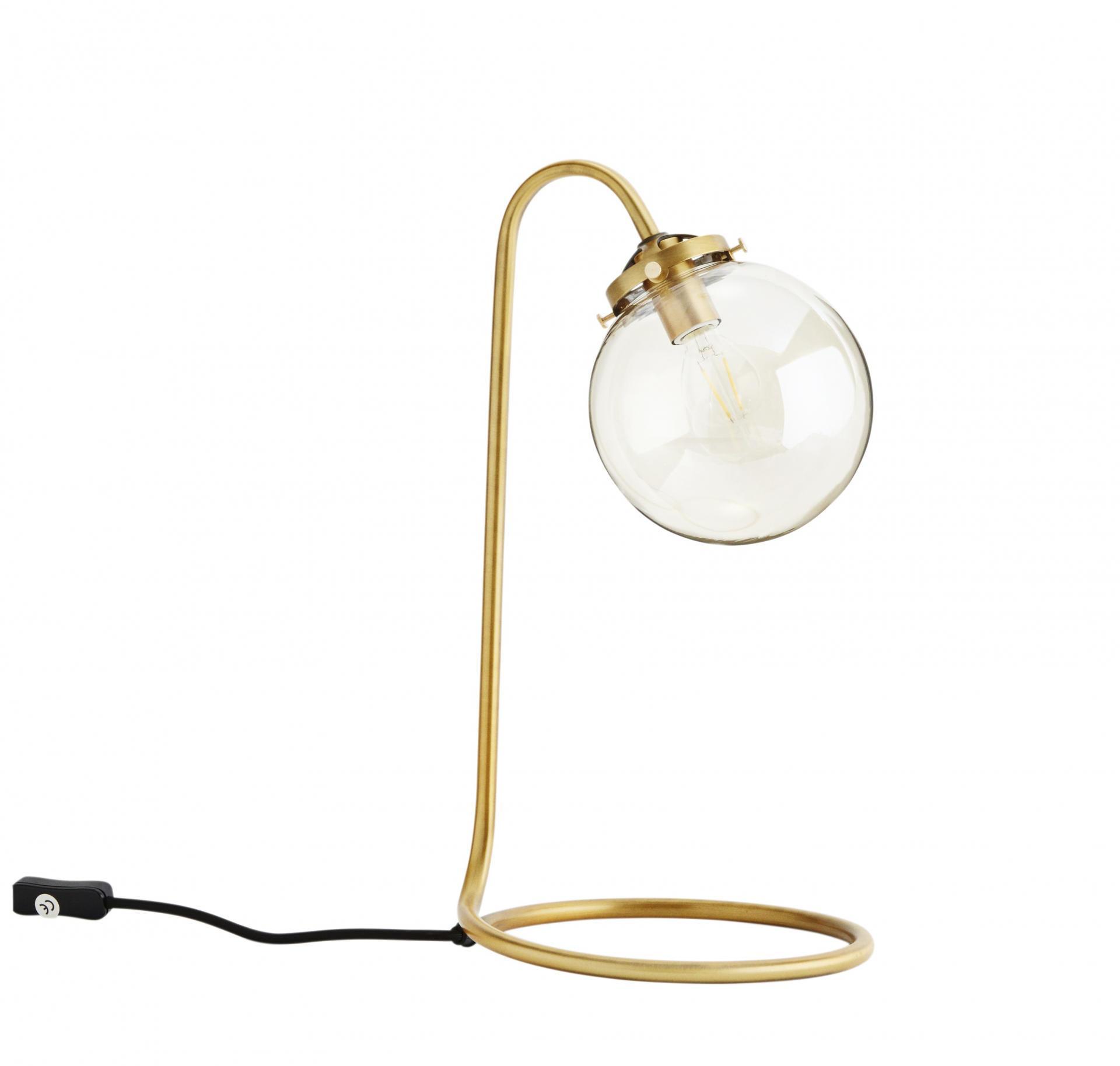 MADAM STOLTZ Stolní lampa Brass Gold, zlatá barva, sklo, kov