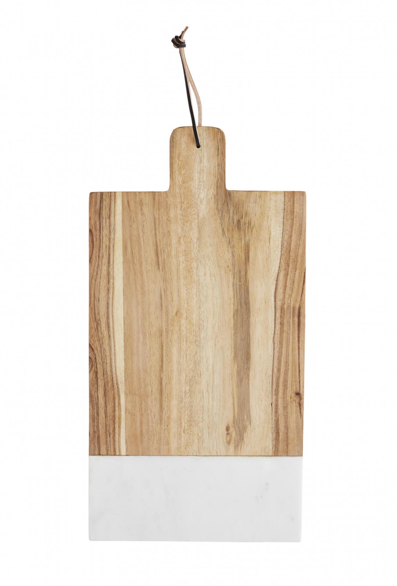 MADAM STOLTZ Krájecí prkénko Wood/Marble, bílá barva, hnědá barva, dřevo, mramor
