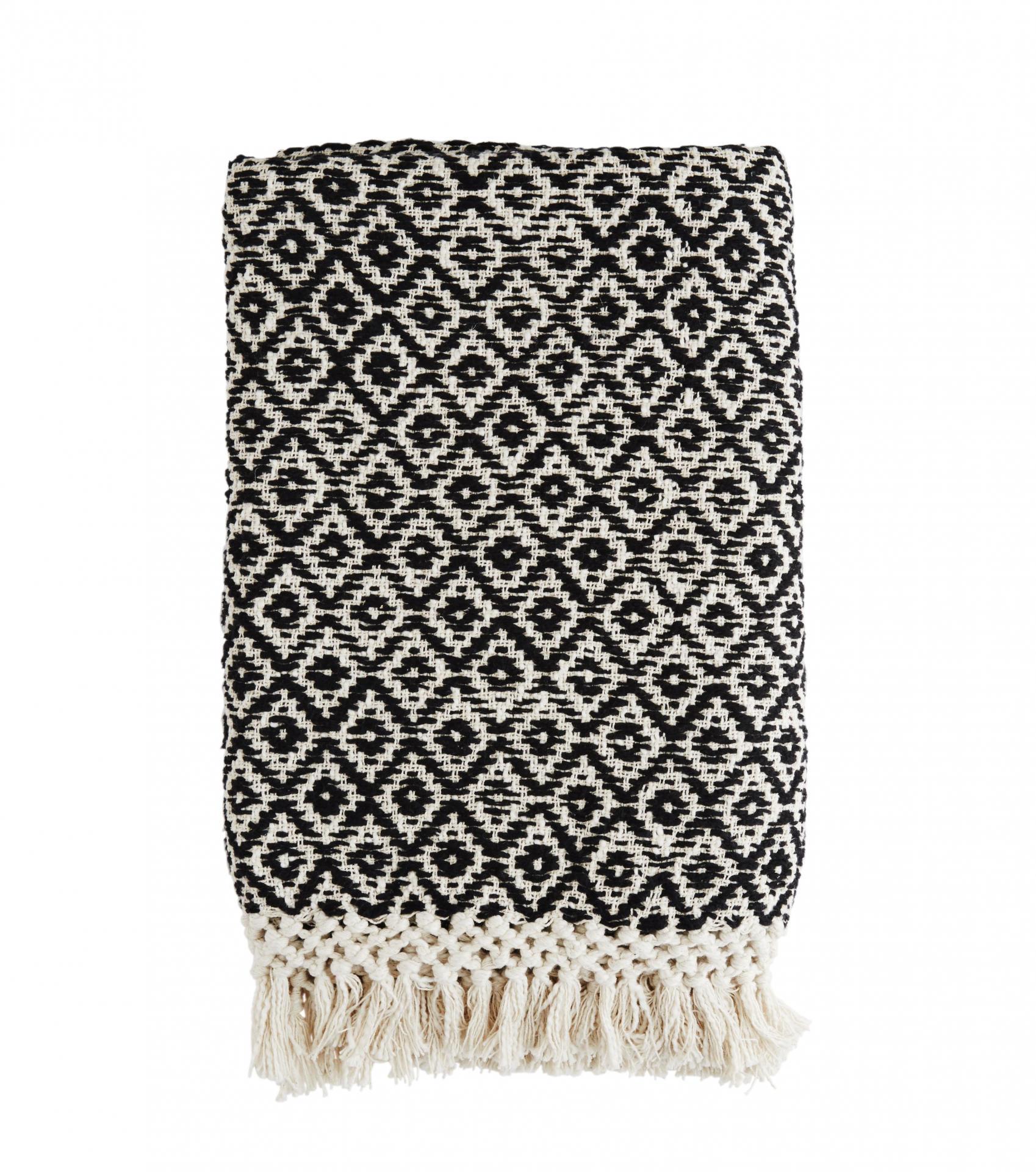 MADAM STOLTZ Ručně tkaný bavlněný pléd 120x170 cm, černá barva, krémová barva, textil