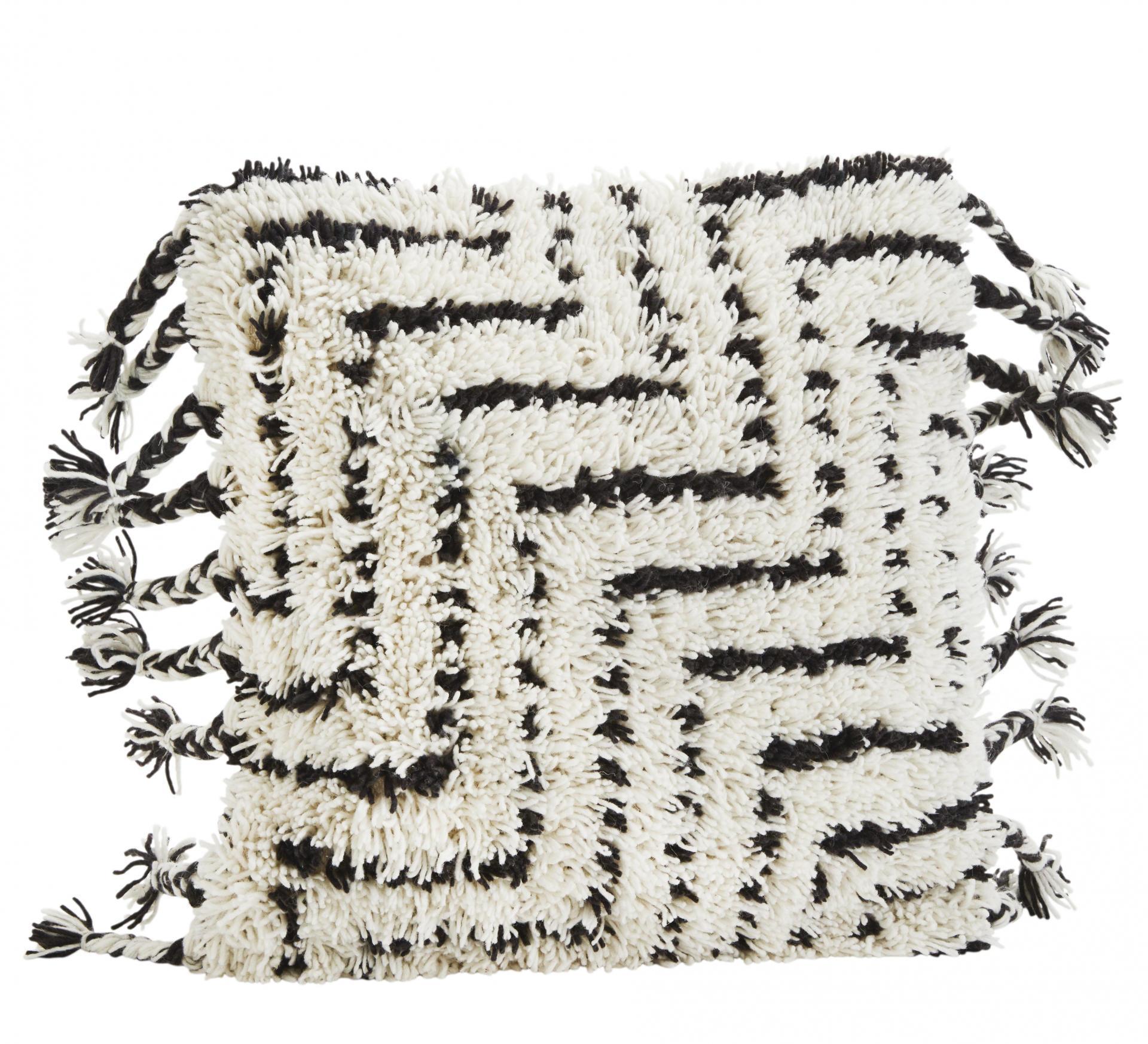 MADAM STOLTZ Vlněný povlak na polštář 50x50 cm, černá barva, bílá barva, textil