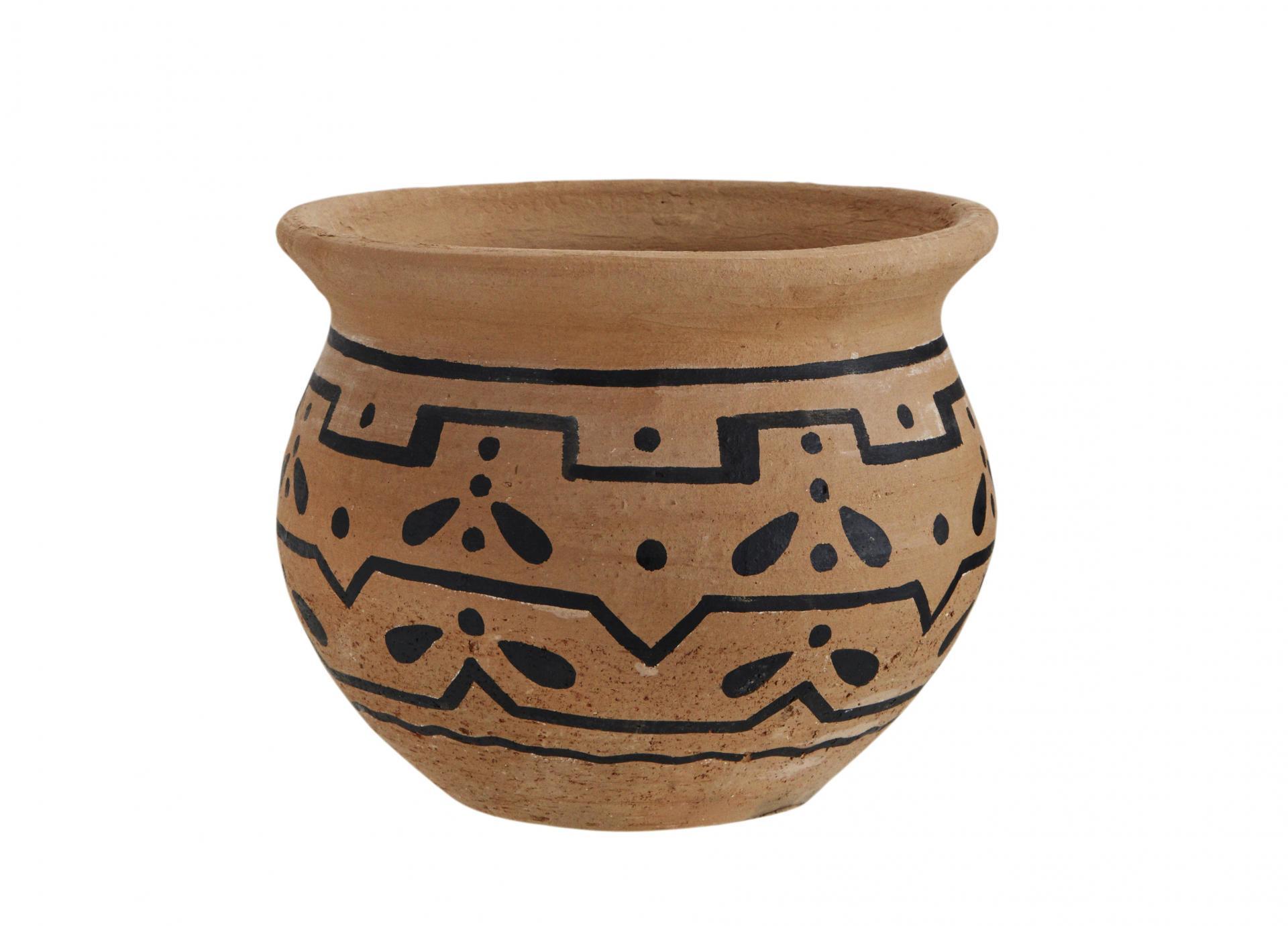 MADAM STOLTZ Hliněný květináč Clay Round, černá barva, hnědá barva, keramika