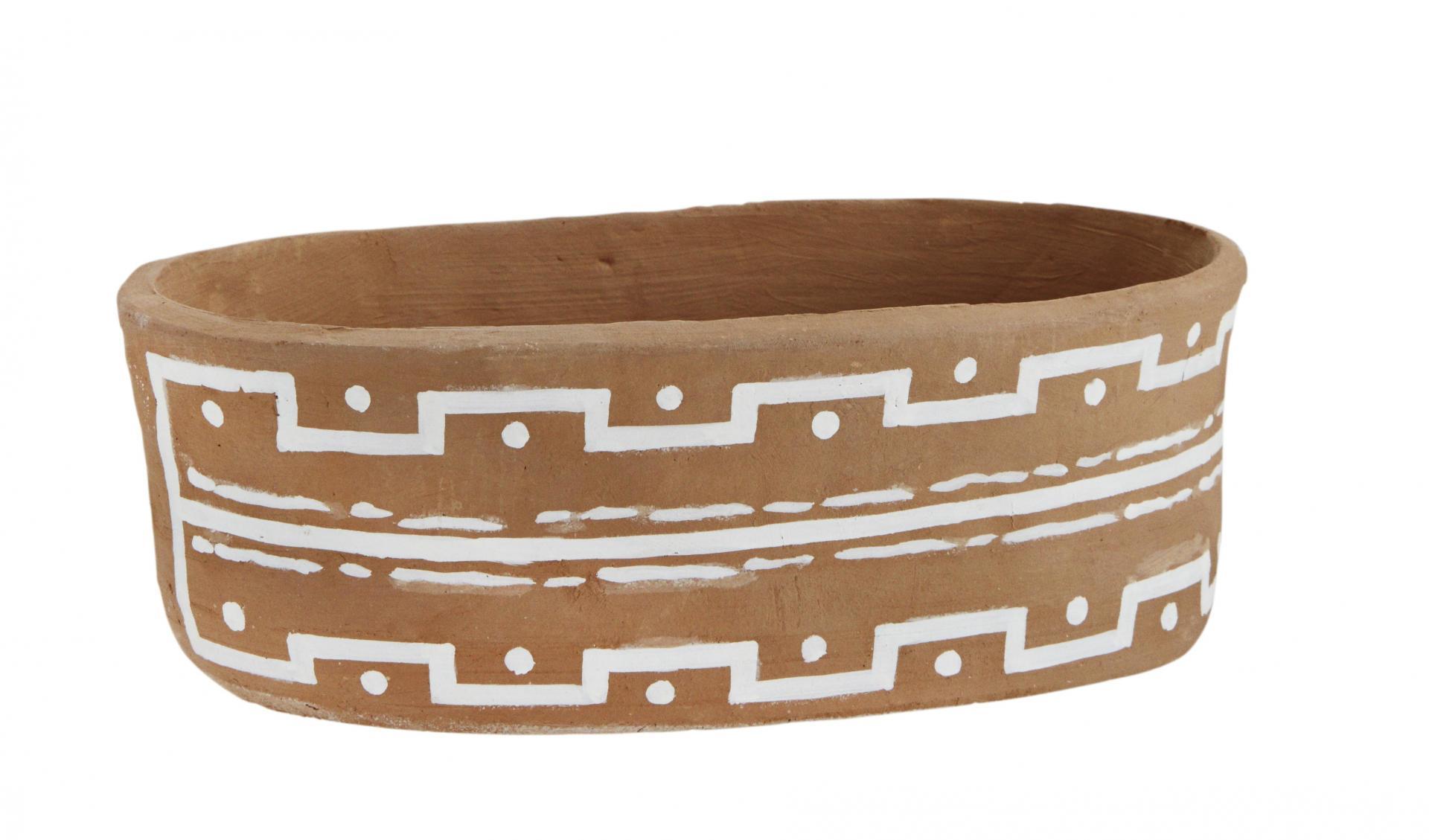 MADAM STOLTZ Hliněný květináč Clay Oval, bílá barva, hnědá barva, keramika