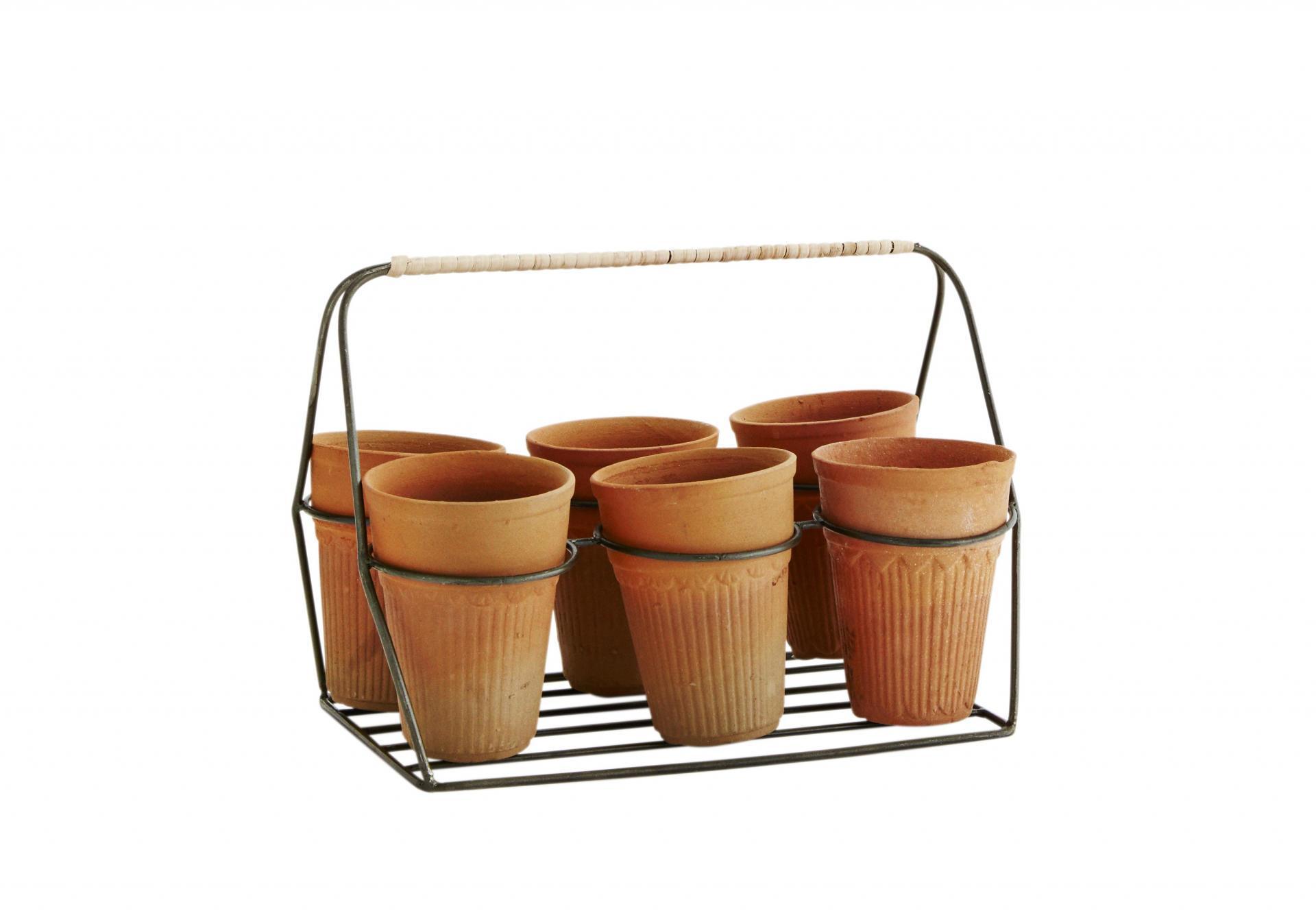 MADAM STOLTZ Zinkový košík s květináčky, šedá barva, hnědá barva, zinek, keramika