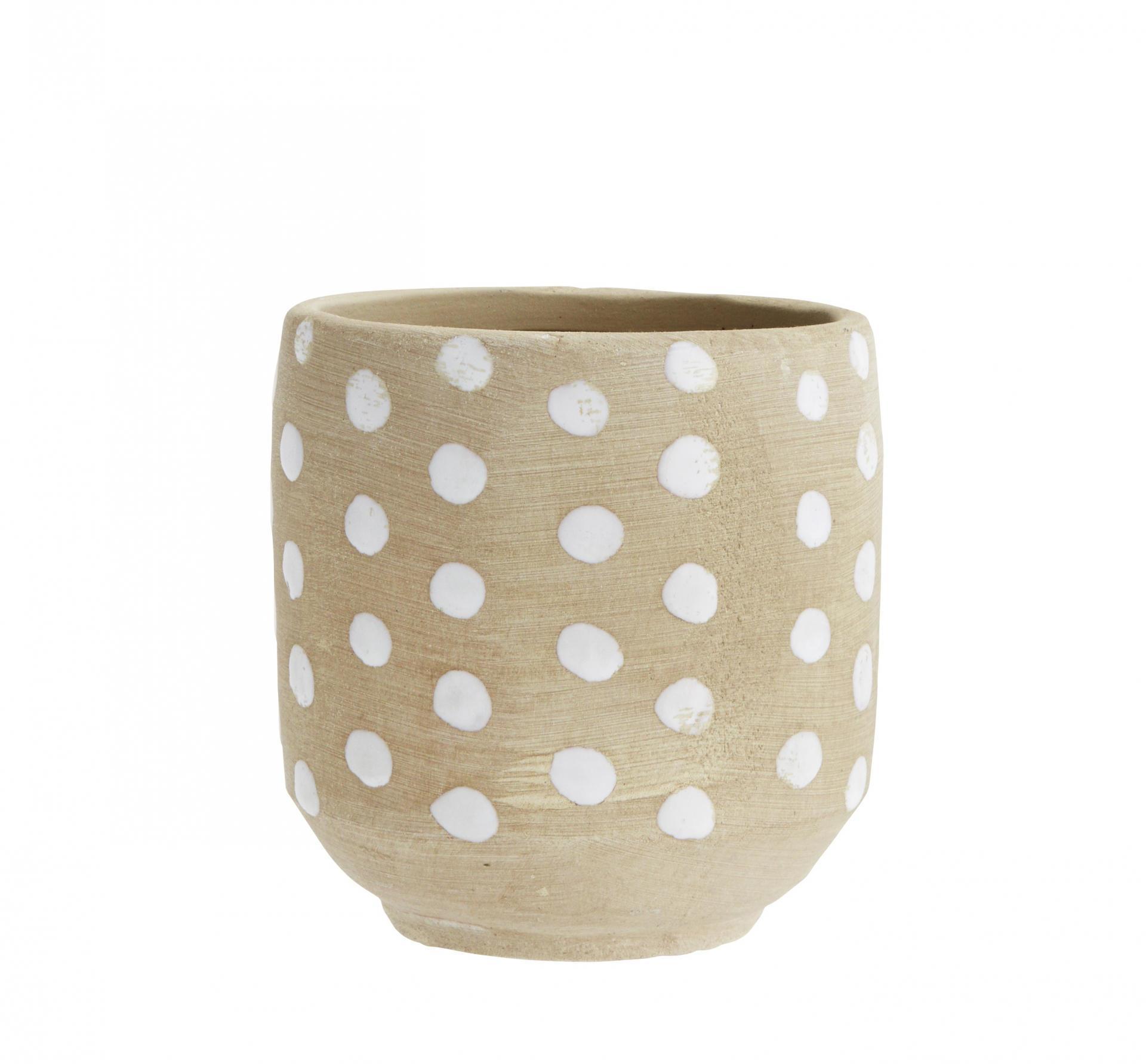 MADAM STOLTZ Keramický obal na květináč Dots, bílá barva, hnědá barva, keramika 12,5cmx14cm