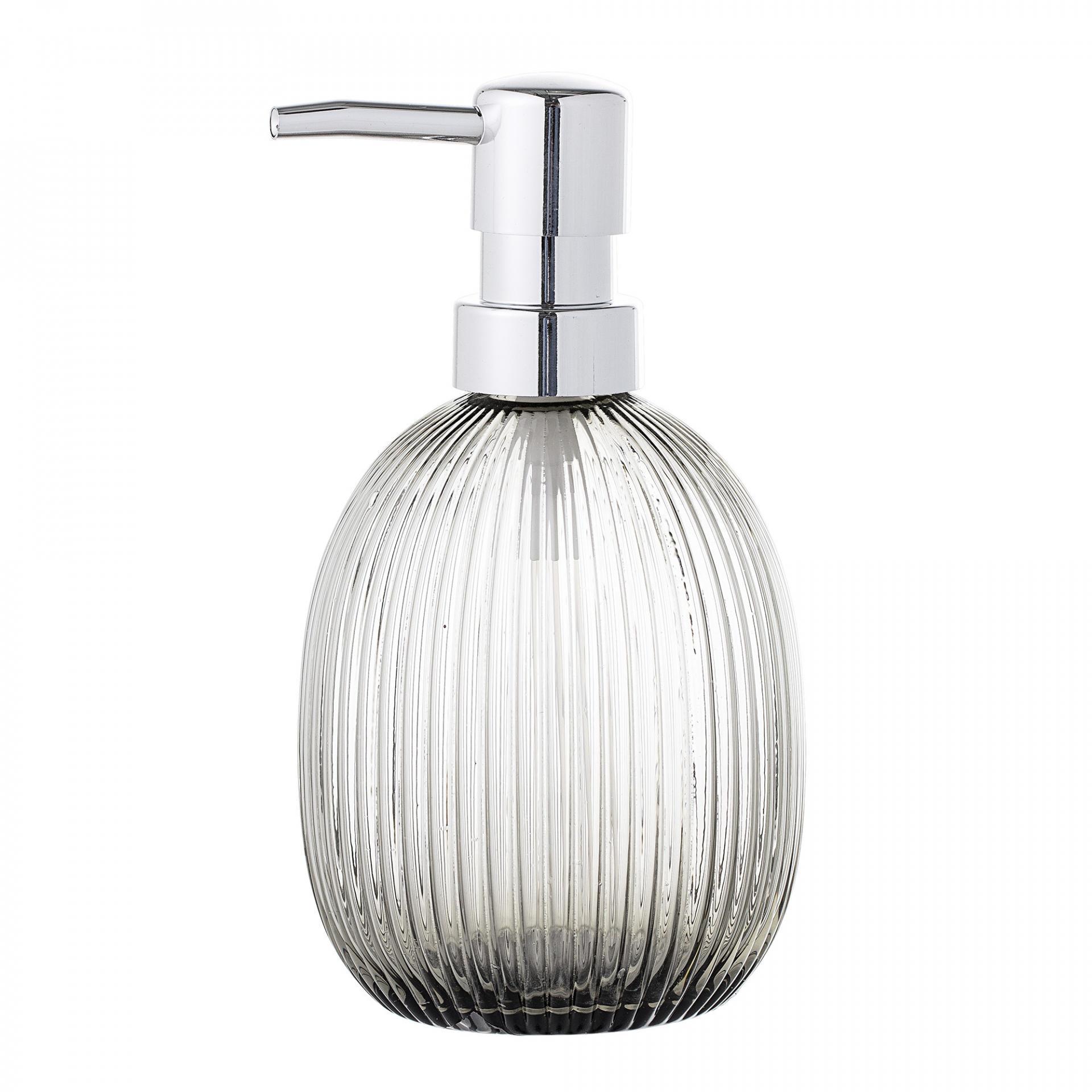 Bloomingville Zásobník na mýdlo Grey, šedá barva, čirá barva, sklo