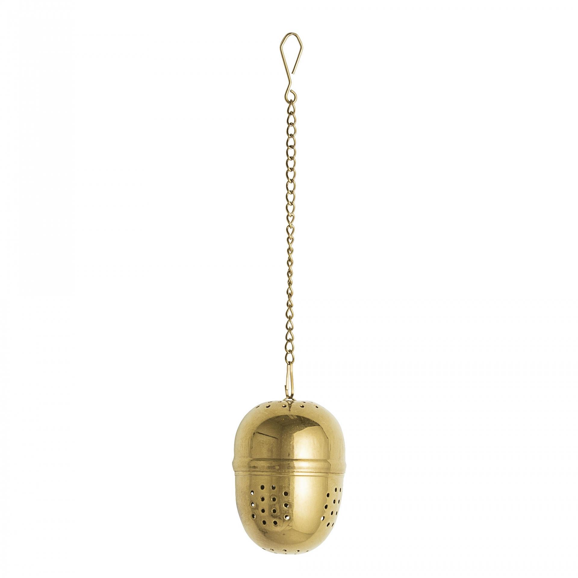 Bloomingville Sítko na čaj Egg Gold, zlatá barva, kov