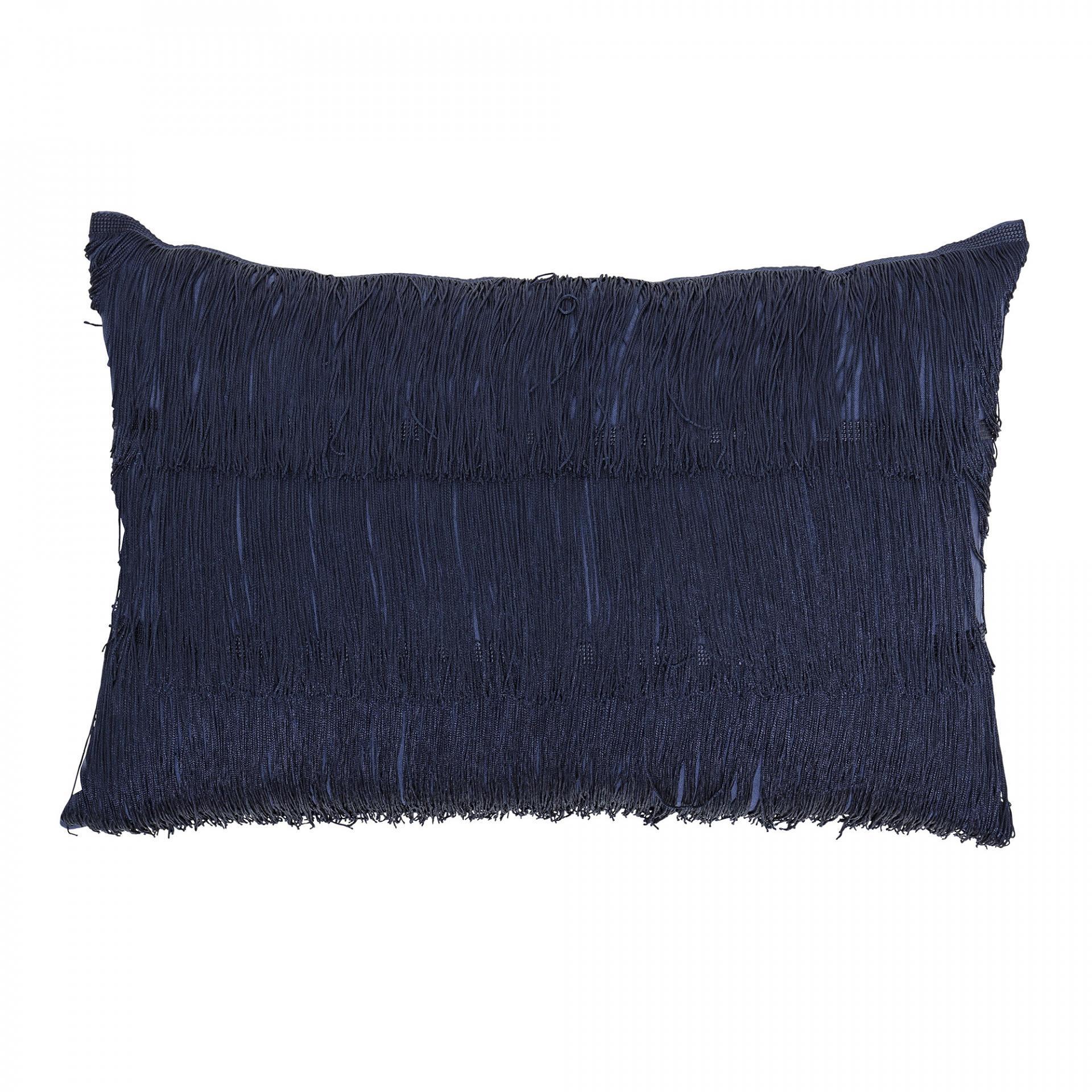 Bloomingville Polštář s třásněmi Blue 40x60 cm, modrá barva, textil